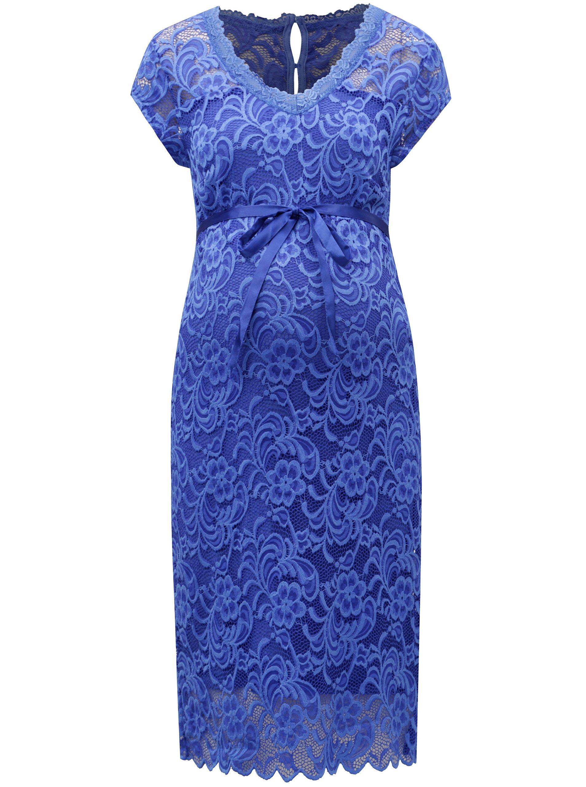 51faea77f214 Modré čipkované tehotenské šaty Mama.licious New mivana