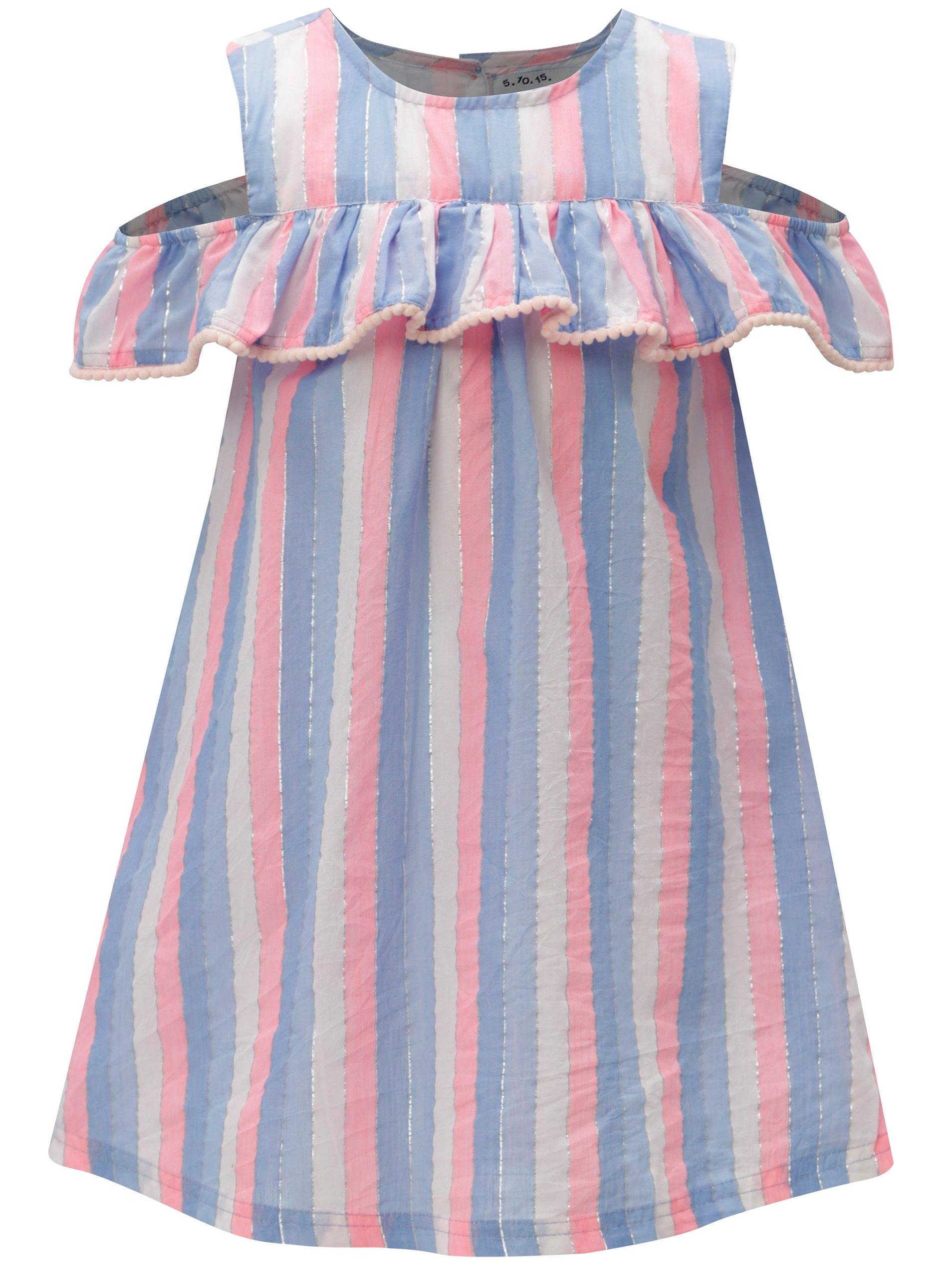 Ružovo-modré dievčenské pruhované šaty 5.10.15.