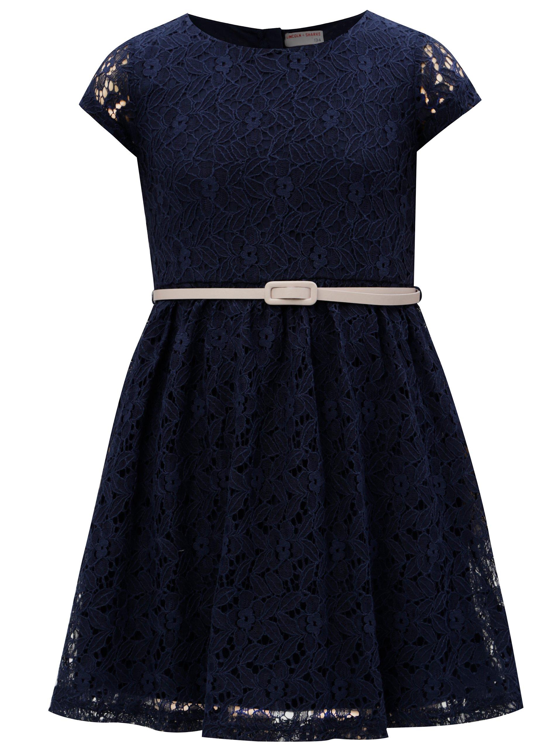 Modré čipkované šaty s opaskom 5.10.15.
