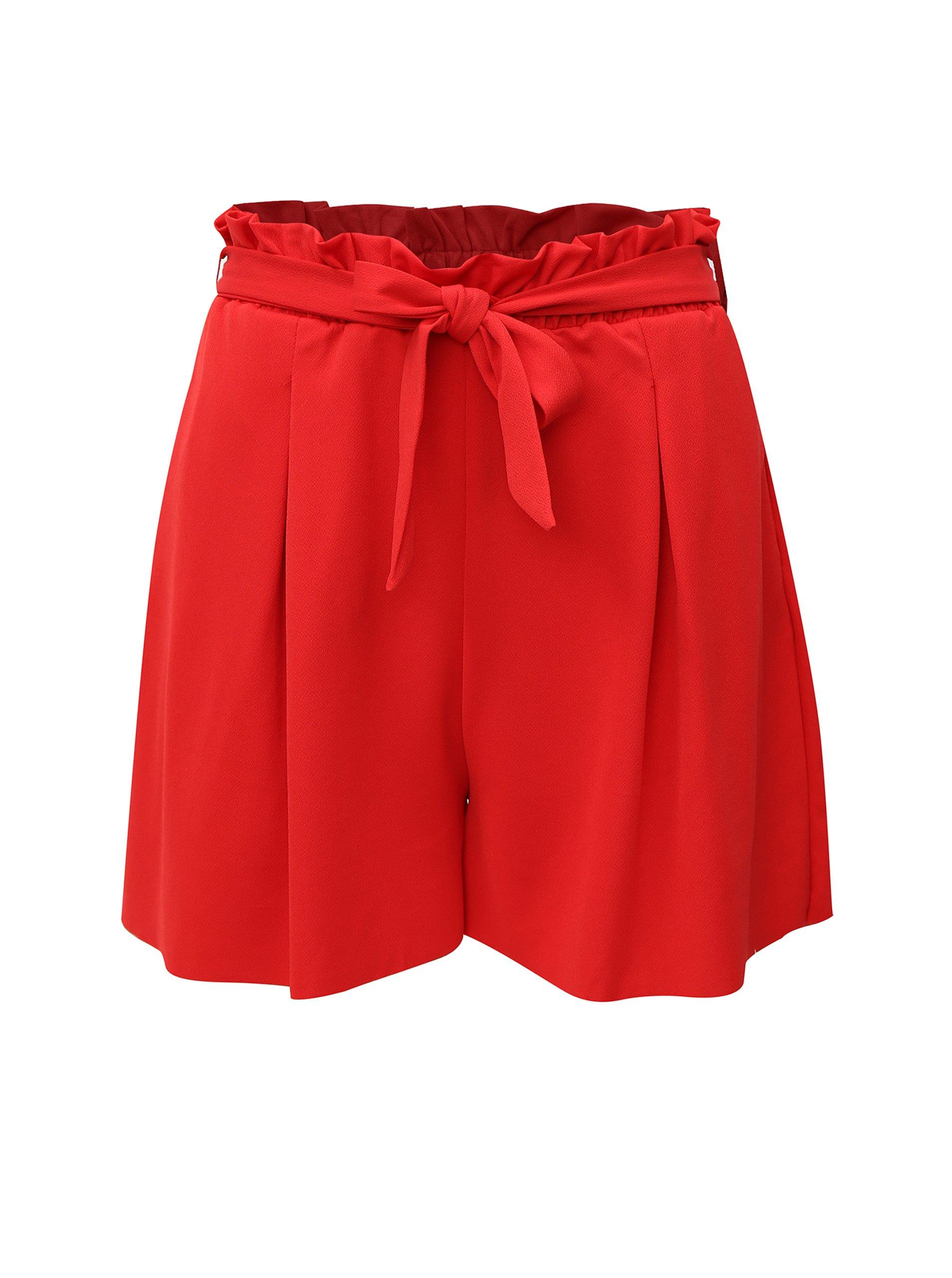 červené kraťasy s vysokým pasem ONLY