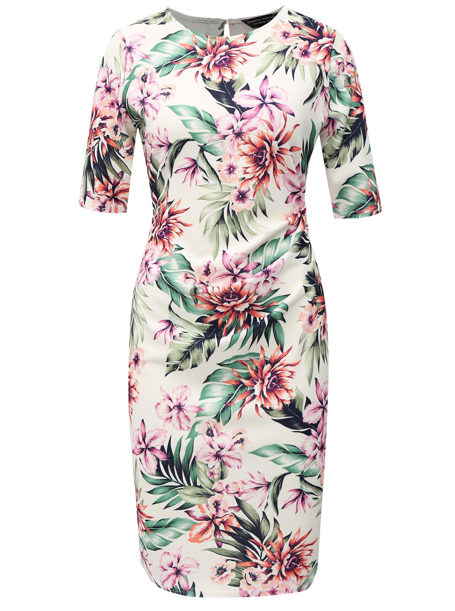 2d587bc2f36e Biele puzdrové šaty s kvetovaným vzorom Dorothy Perkins