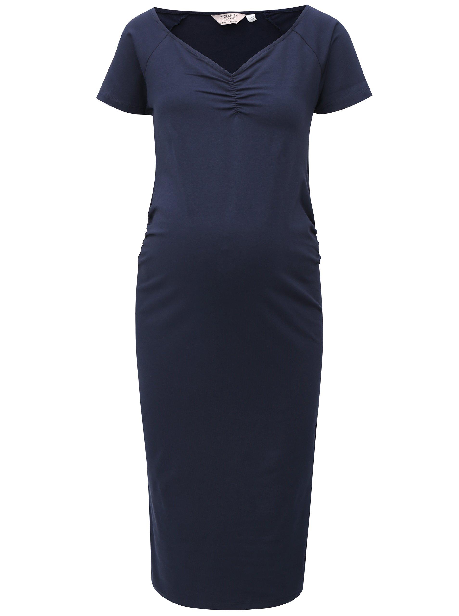 Tmavomodré puzdrové tehotenské šaty Dorothy Perkins Maternity 27bd70b41ff