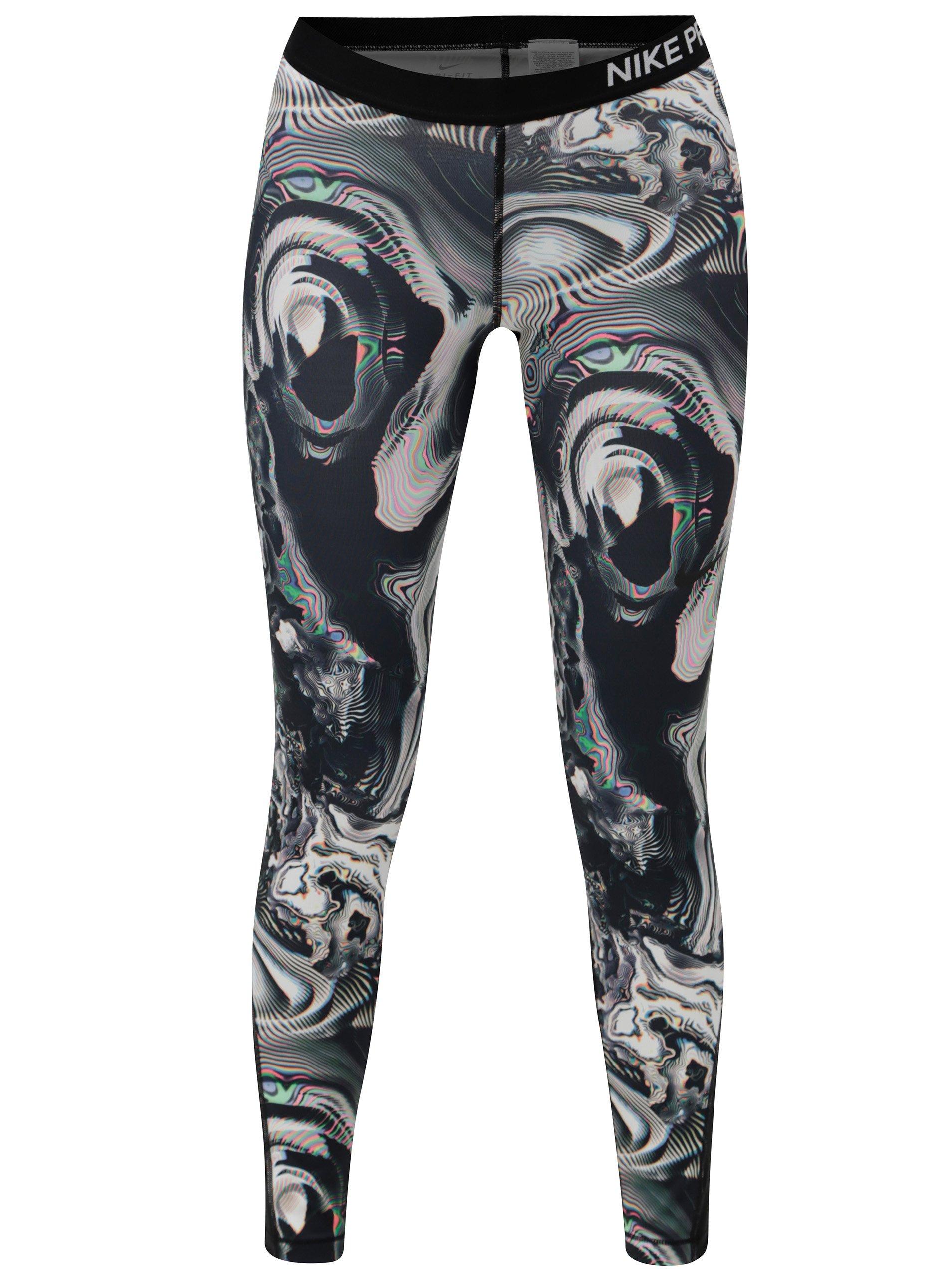 Čierne vzorované dámske legíny Nike