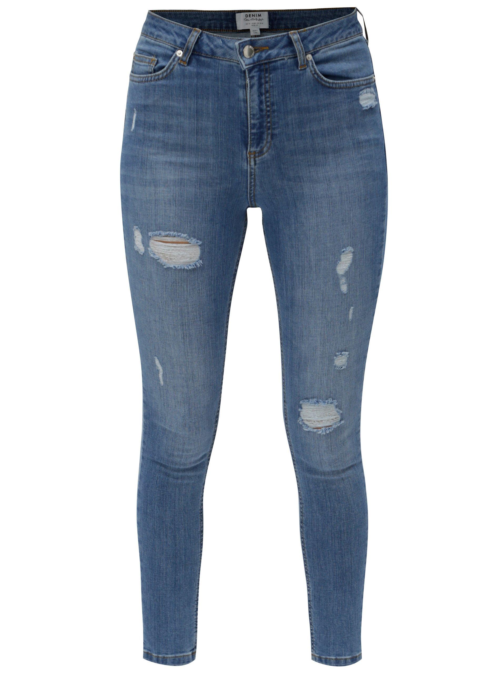 Světle modré super skinny džíny s vysokým pasem Miss Selfridge 846a836895