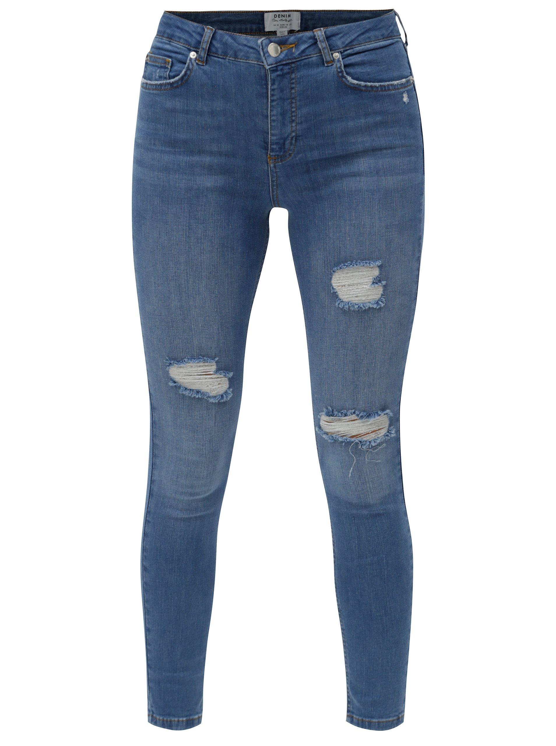 Modré super skinny džíny s vysokým pasem Miss Selfridge 2c69944f51