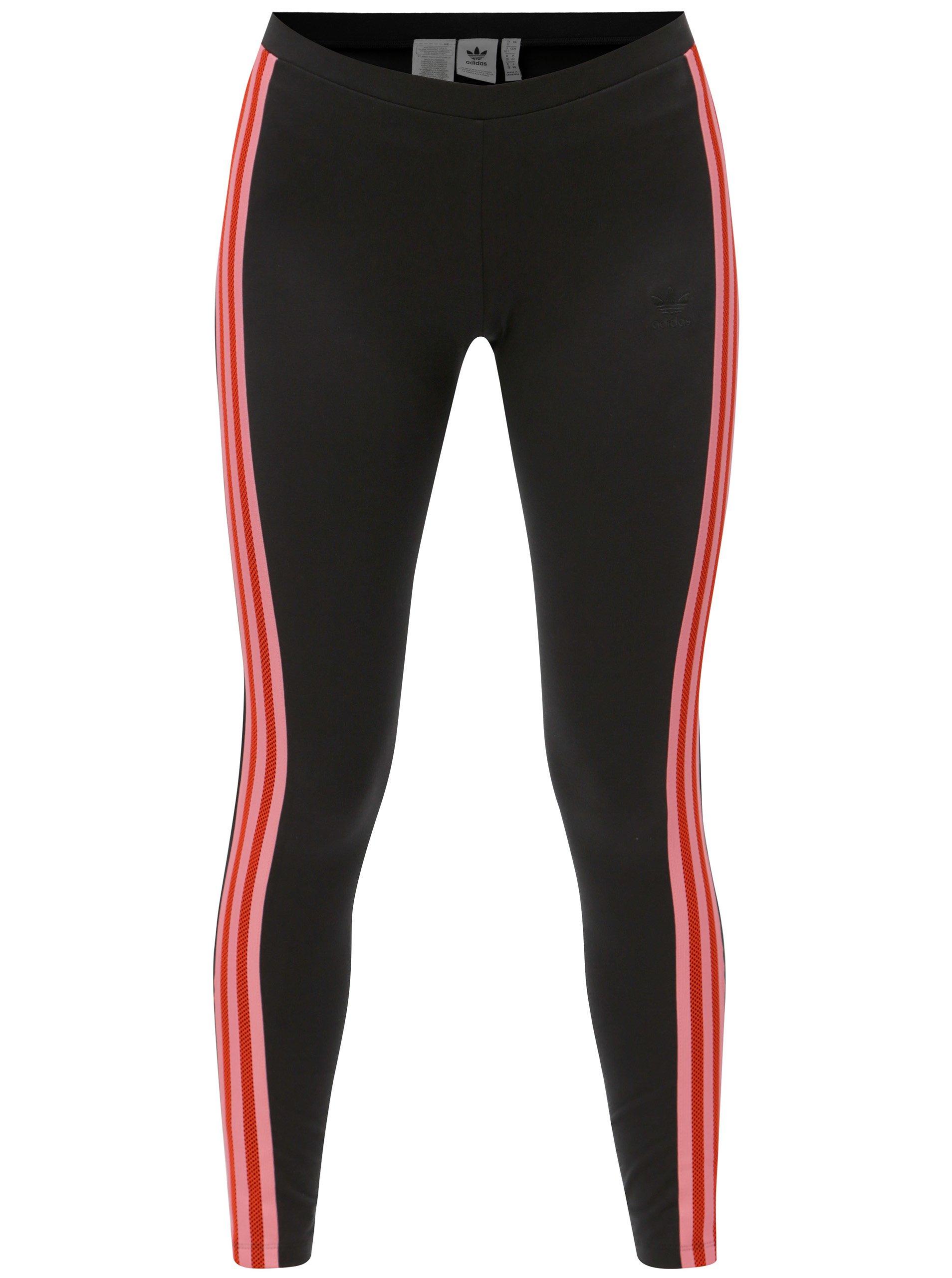 19dc2af233a3 Čierne dámske legíny s pruhmi adidas Originals