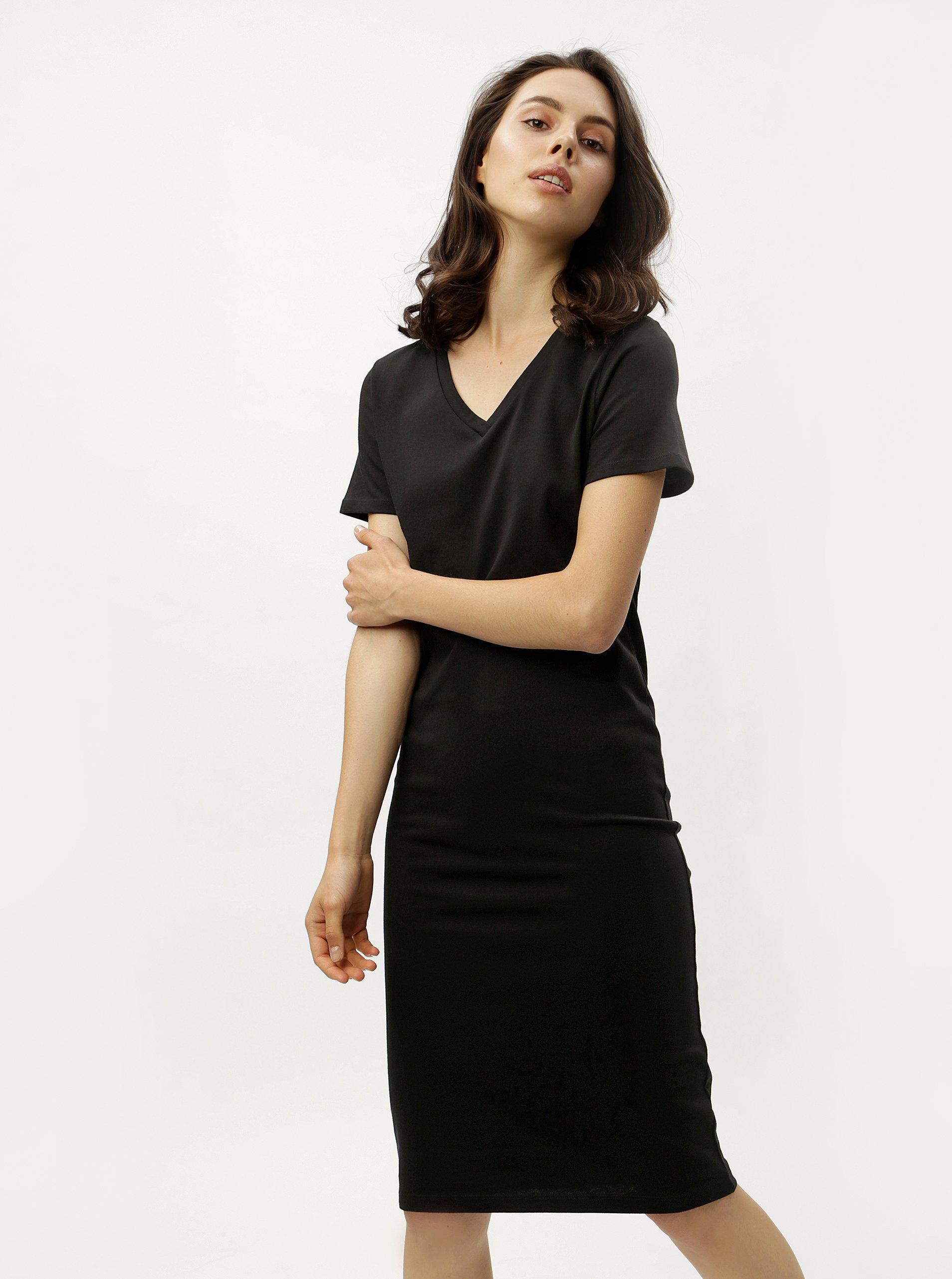 Čierne puzdrové šaty s krátkym rukávom ZOOT 34fc57a54dc