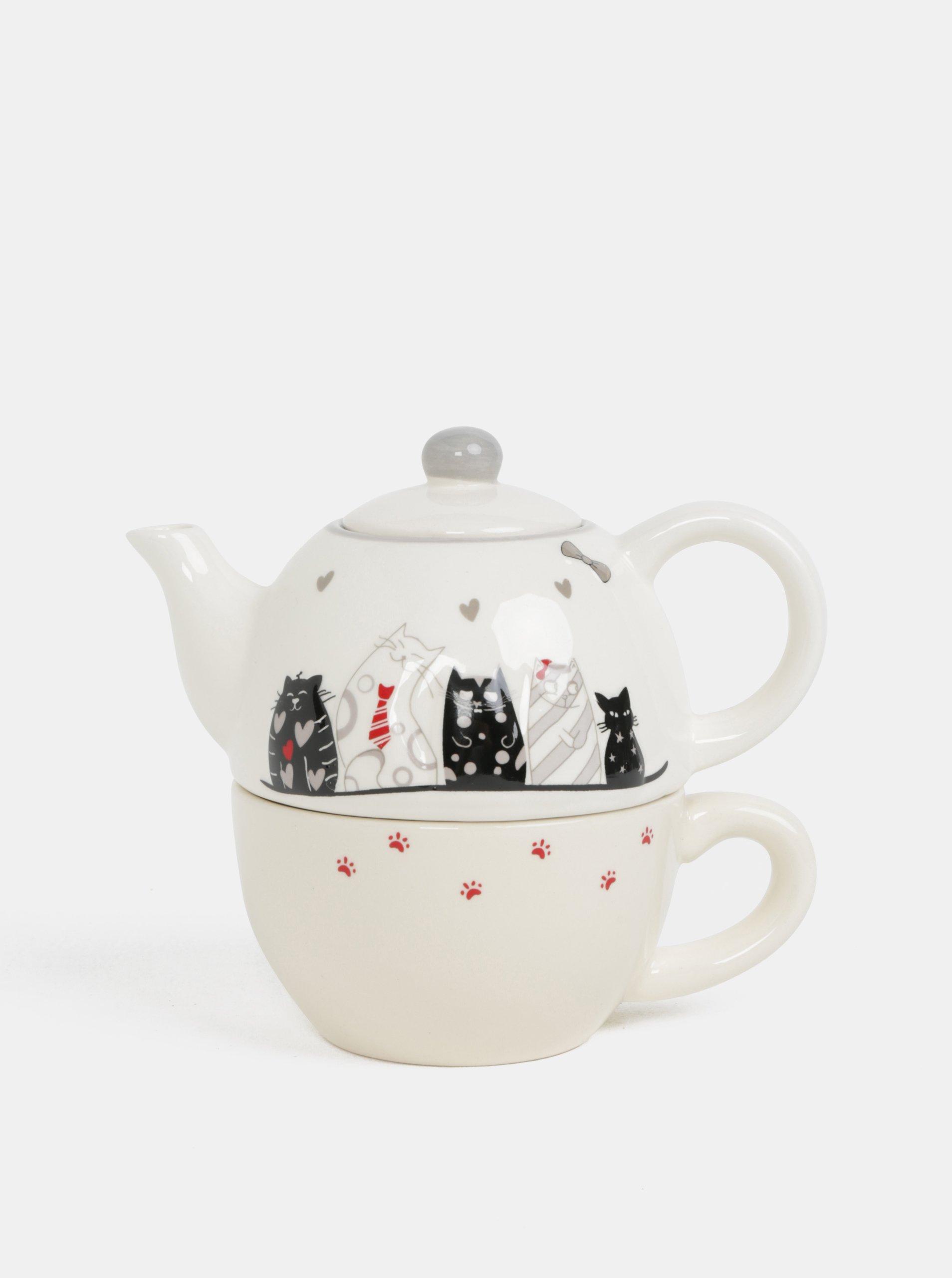 Krémová kolekcia hrnčeka s kanvicou na čaj s motívom mačiek Dakls