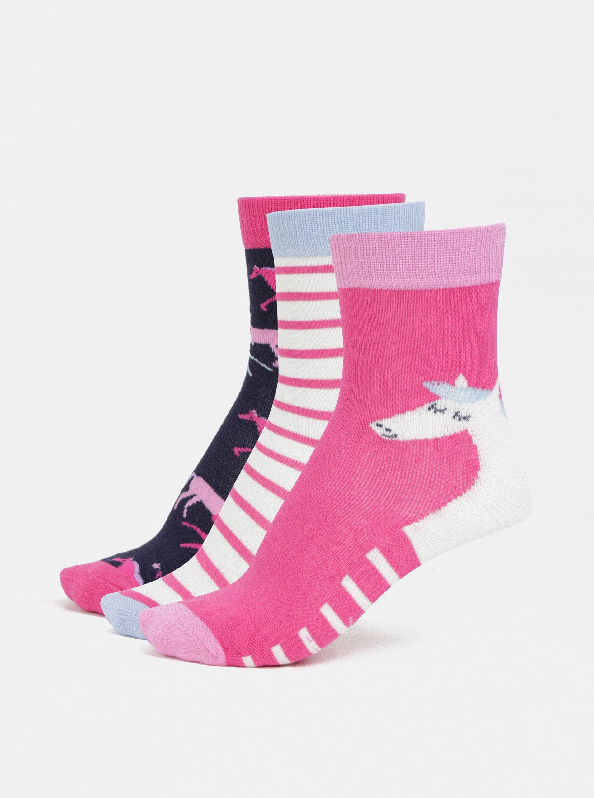 Súprava troch párov dievčenských ponožiek v modrej a ružovej farbe Tom Joule Welly