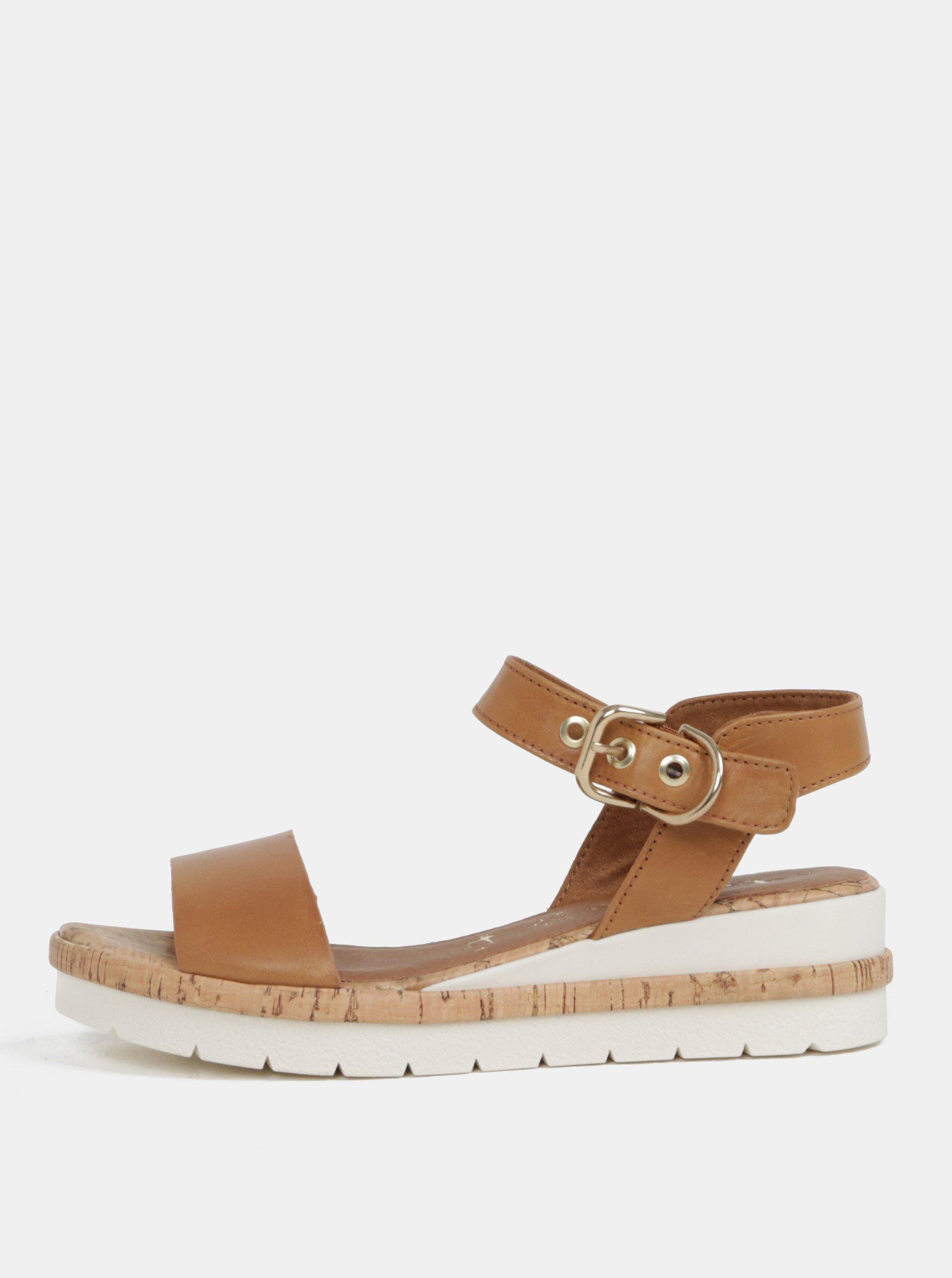 84e9b5380b Hnedé kožené sandálky na plnom podpätku Tamaris