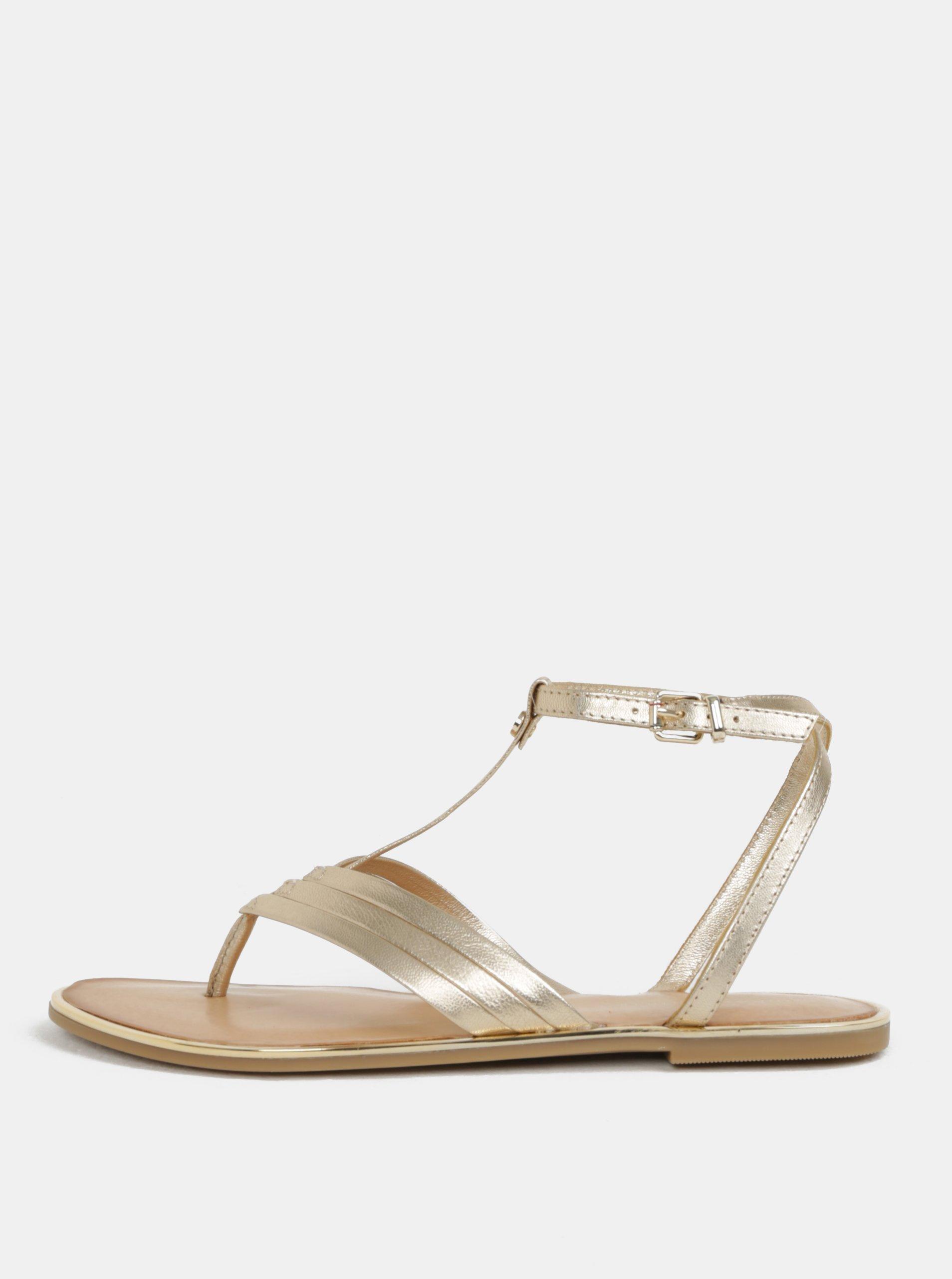 87265558cf37 Dámske kožené sandále v zlatej farbe Tommy Hilfiger