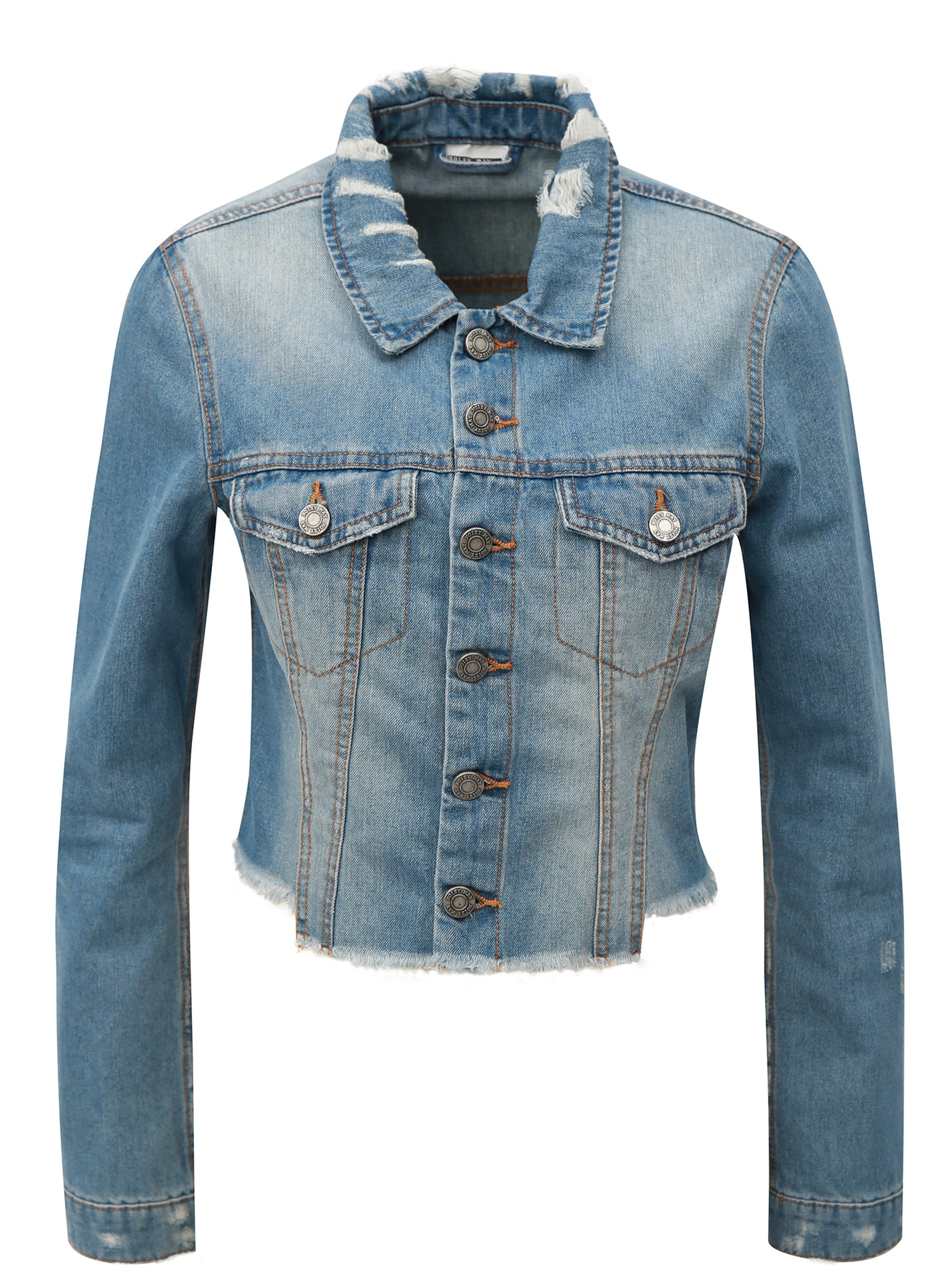 Světle modrá krátká džínová bunda Noisy May Robin