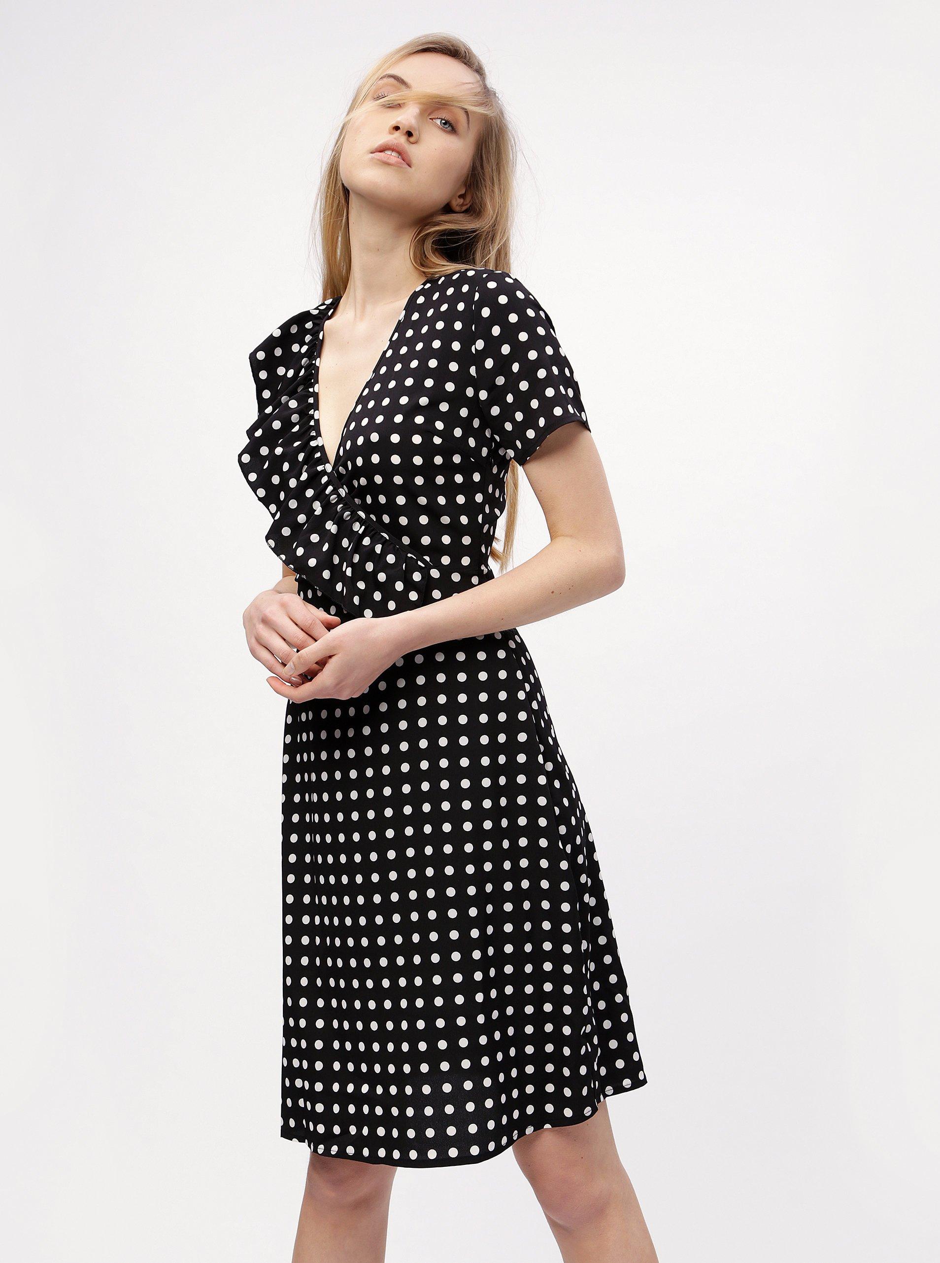 Černé puntíkované šaty s překládaným výstřihem MISSGUIDED 5ac399e9ff