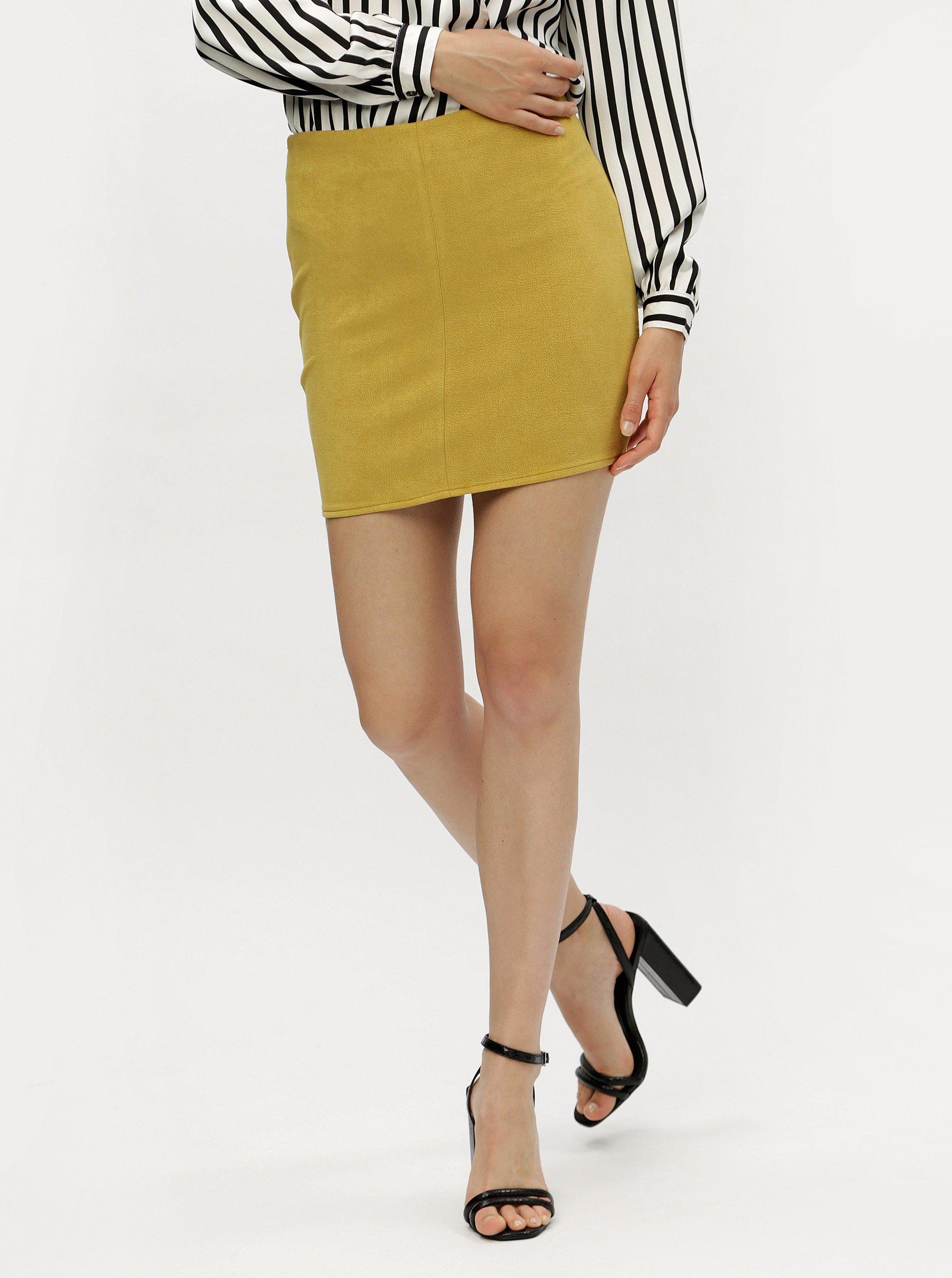 5fd5ea3acb3 Hořčicová pouzdrová sukně MISSGUIDED