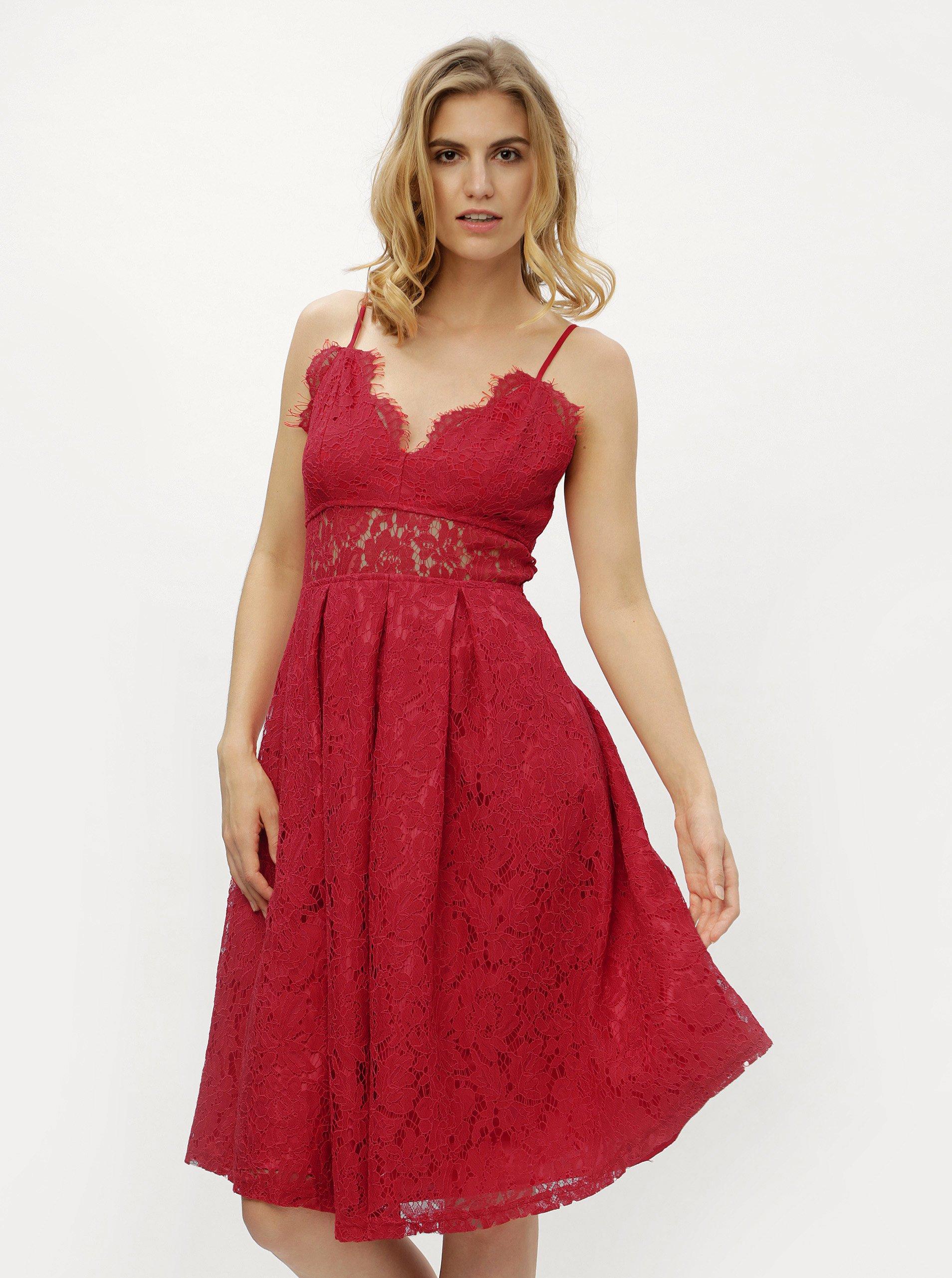 15ba8133918a Červené čipkované šaty MISSGUIDED