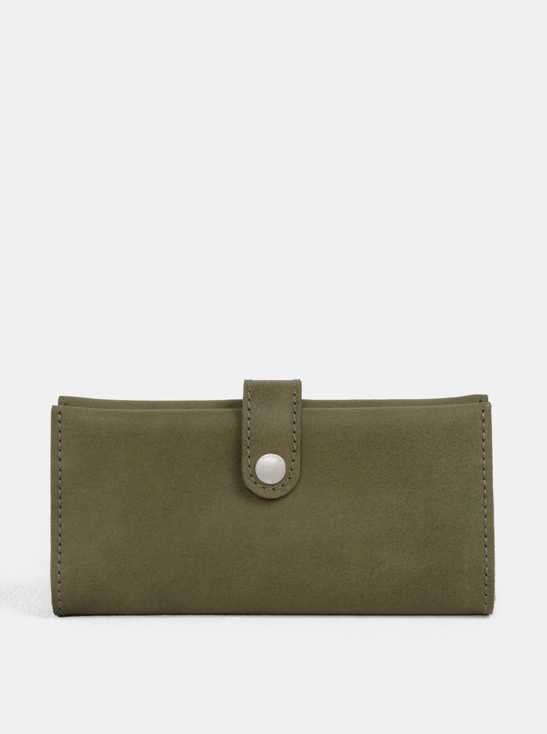 Kaki kožená peňaženka WOOX Moneta Magna Viridita