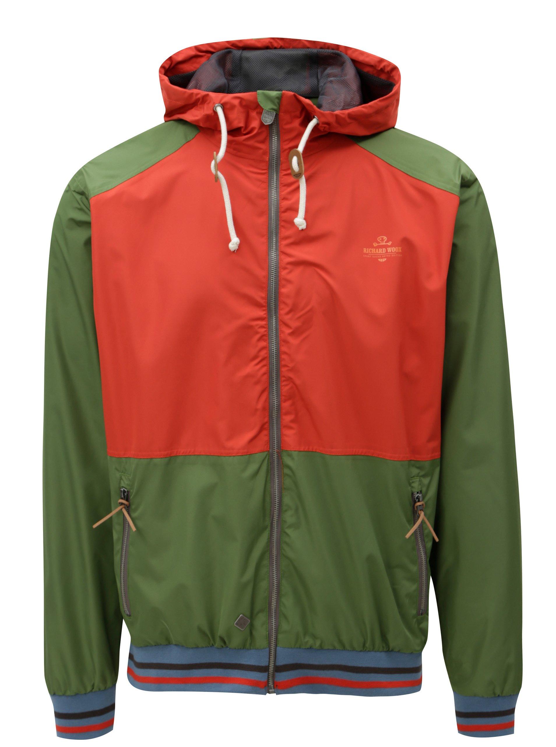 Červeno-zelená pánská neromokavá lehká bunda WOOX Nimbus Urban Kale Senor