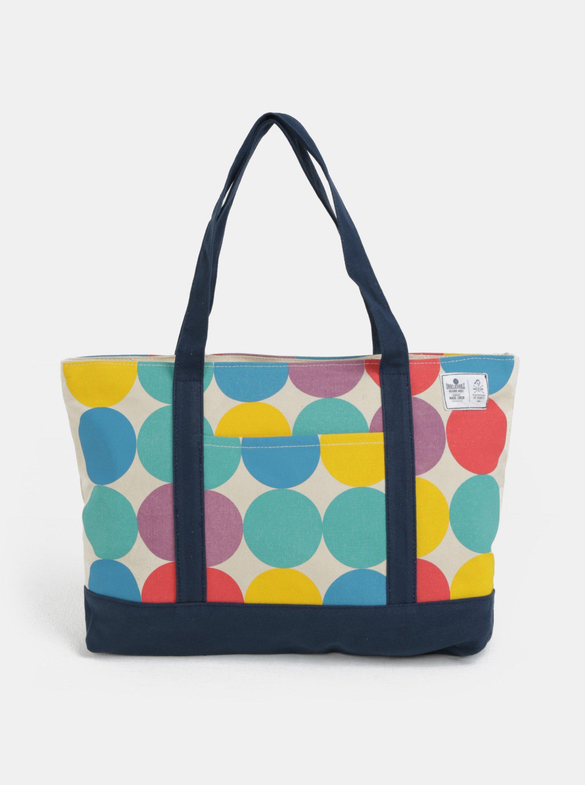 Béžový shopper s barevnými puntíky WOOX Sacculi Iris