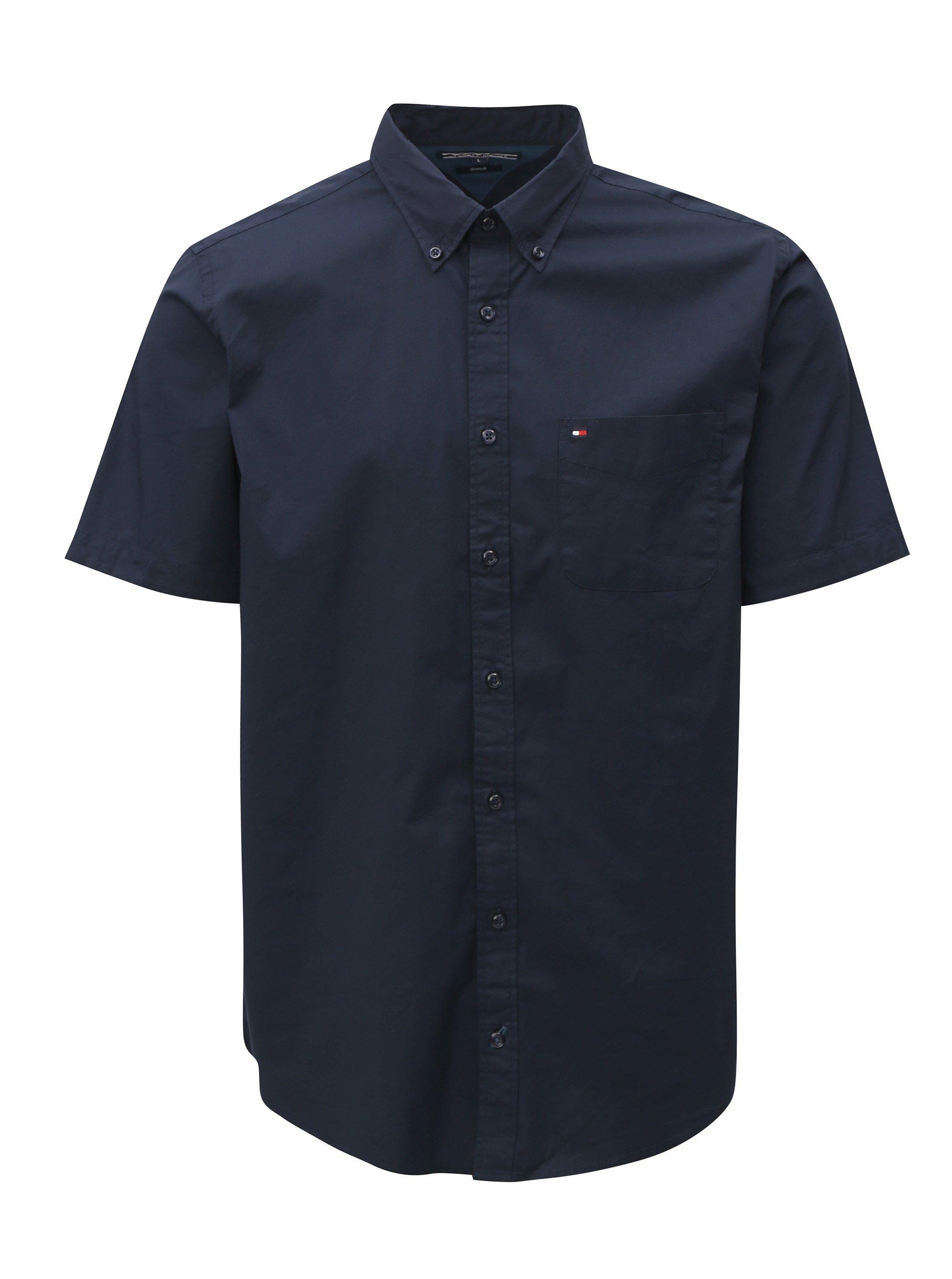 f1775f4a625 Tmavě modrá pánská košile s krátkým rukávem Tommy Hilfiger