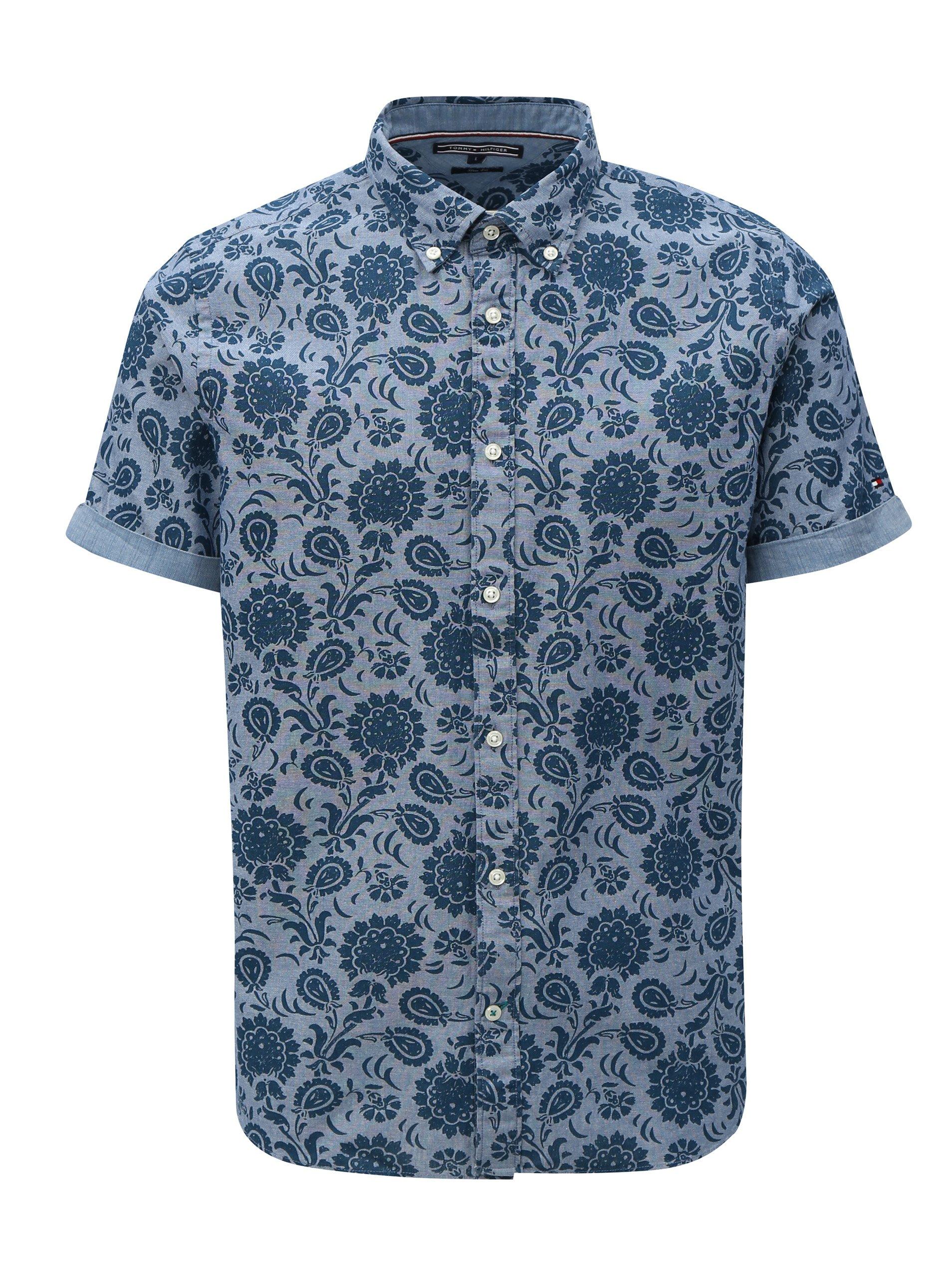 Modrá pánská vzorovaná slim fit košile Tommy Hilfiger 097d31f6bf