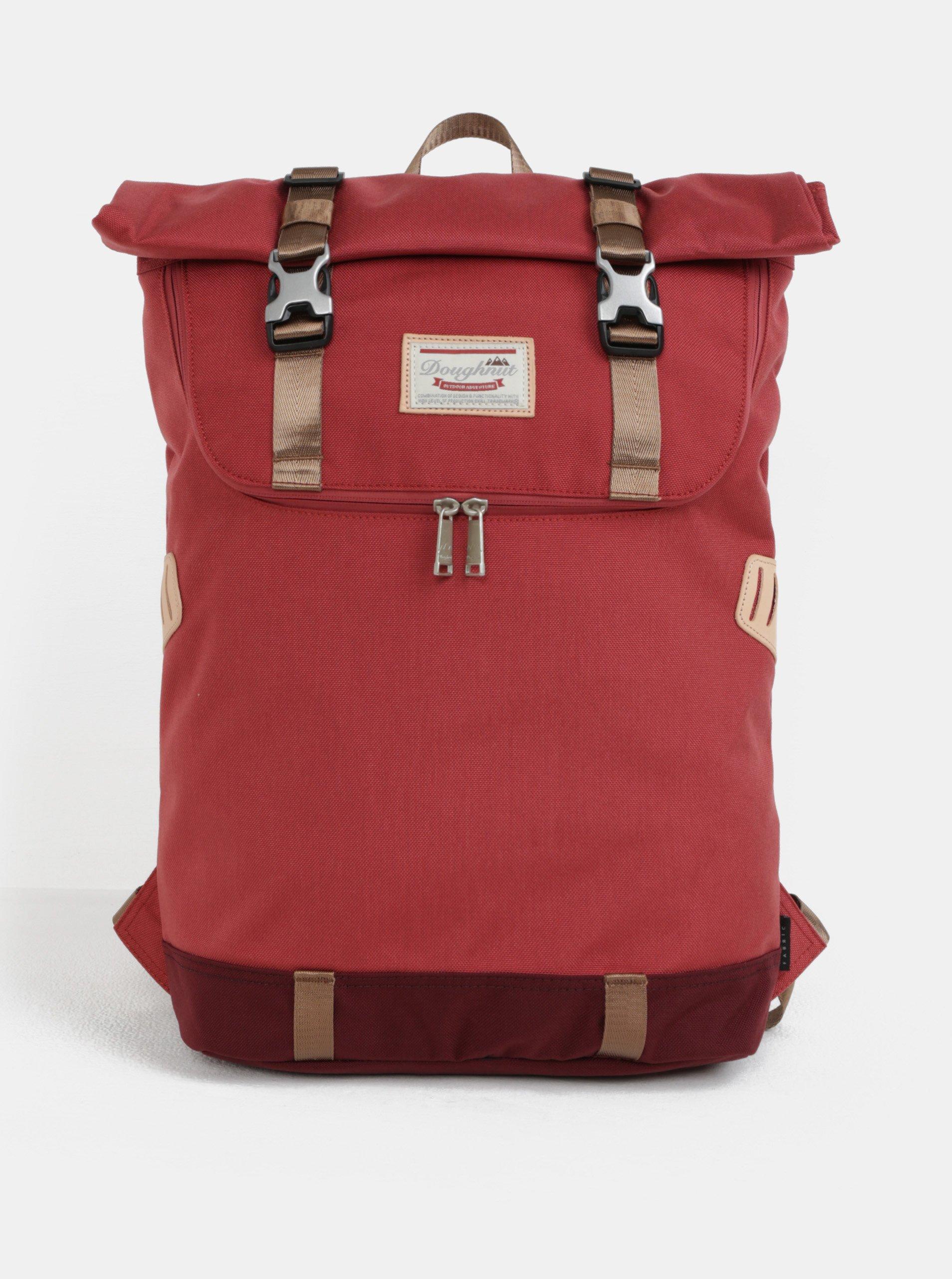Červený batoh s koženými detailmi Doughnut Christopher 18 l 0a19467a8c