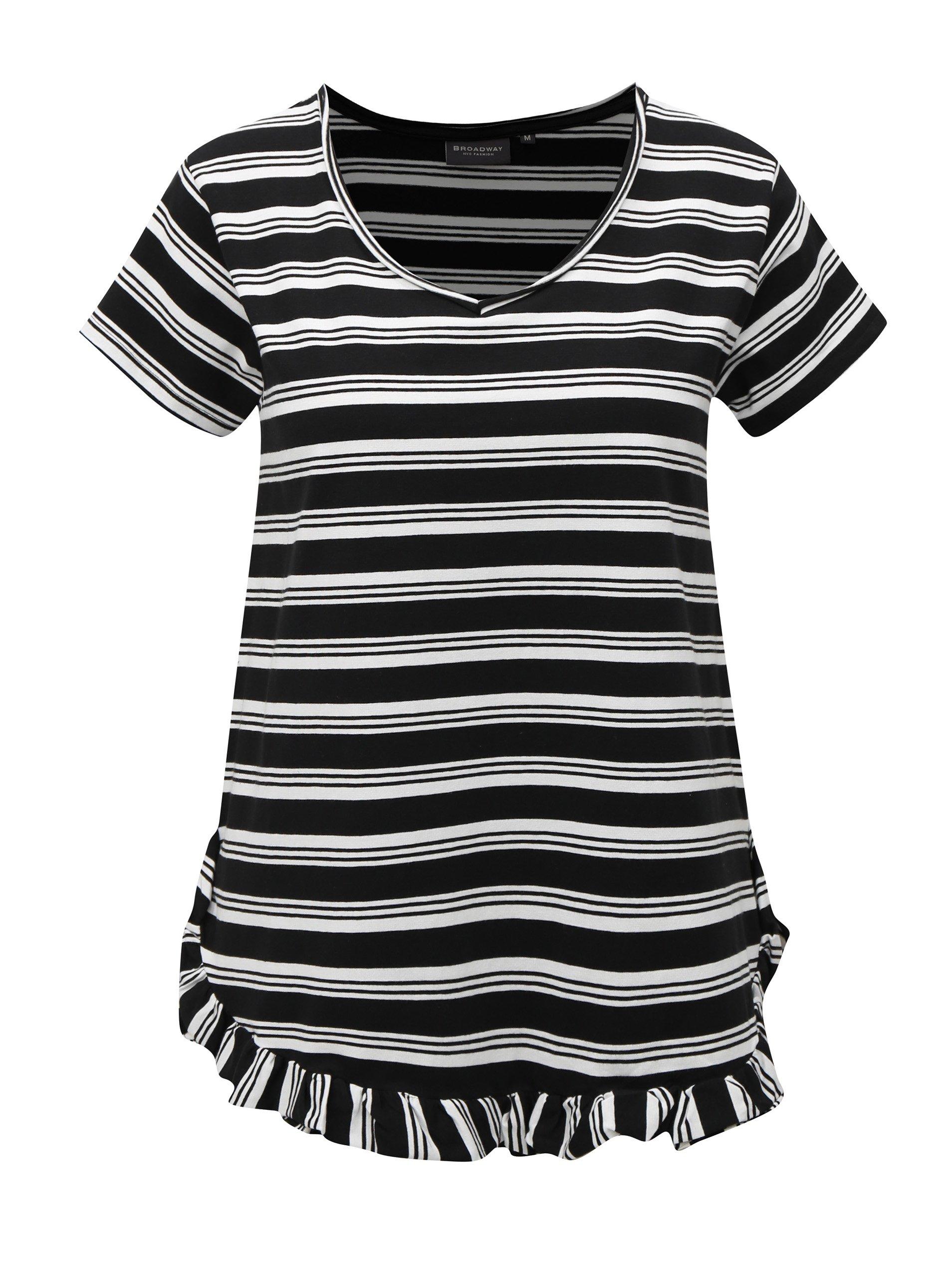 Bielo-čierne pruhované tričko s volánom Broadway Darian