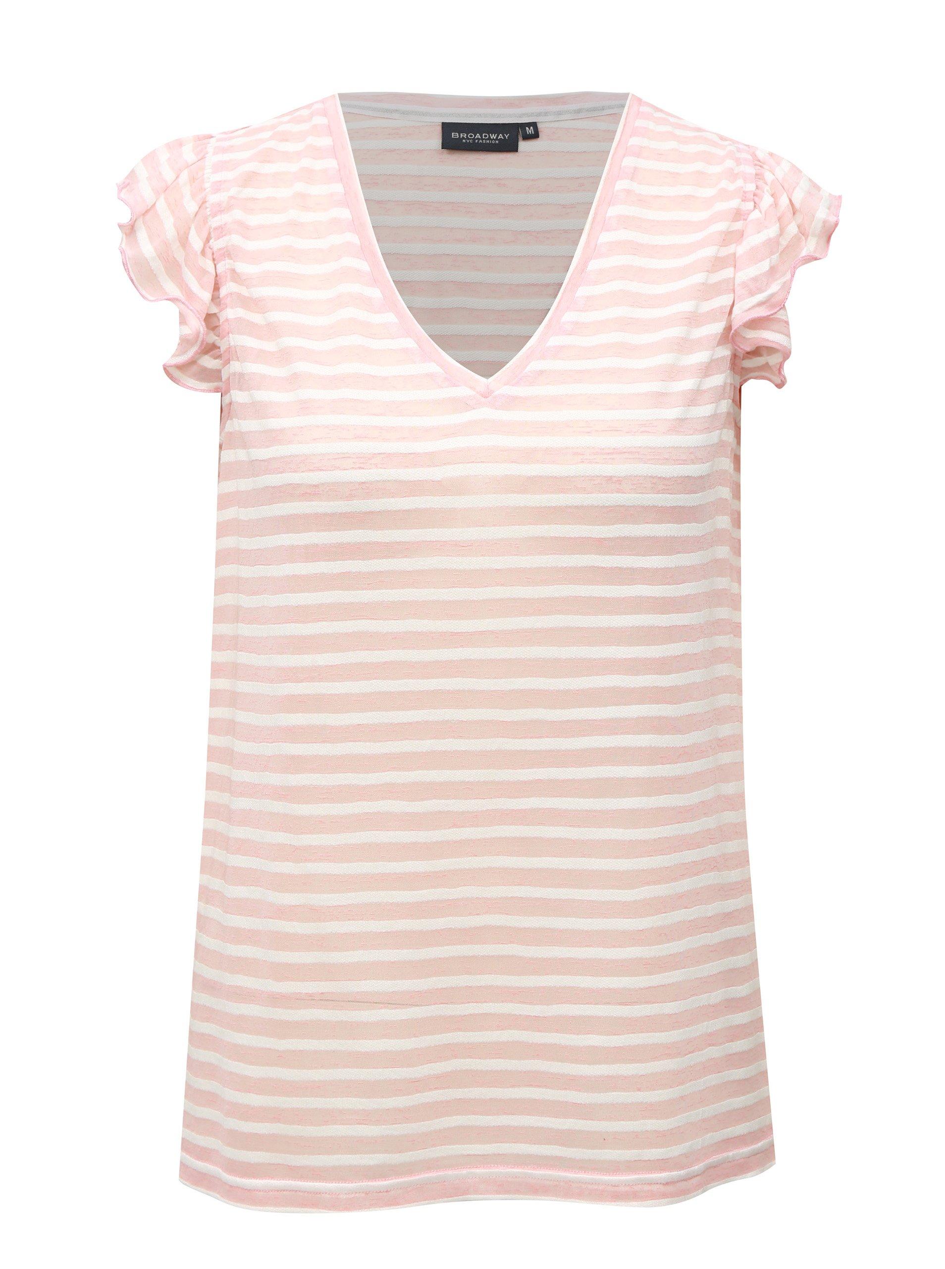 Fotografie Bílo-růžové pruhované dámské tričko Broadway Felicie