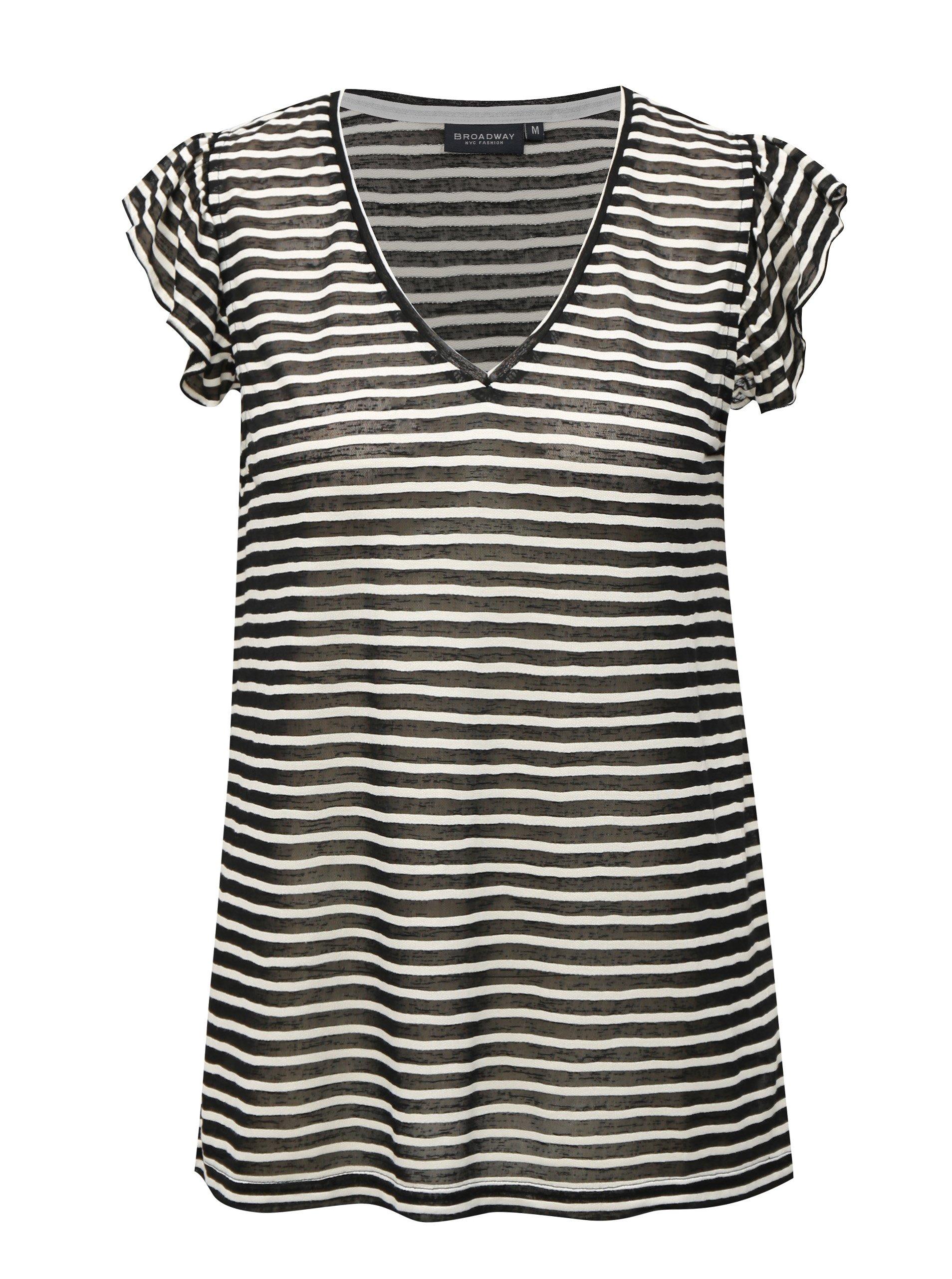 Fotografie Bílo-černé pruhované dámské tričko Broadway Felicie