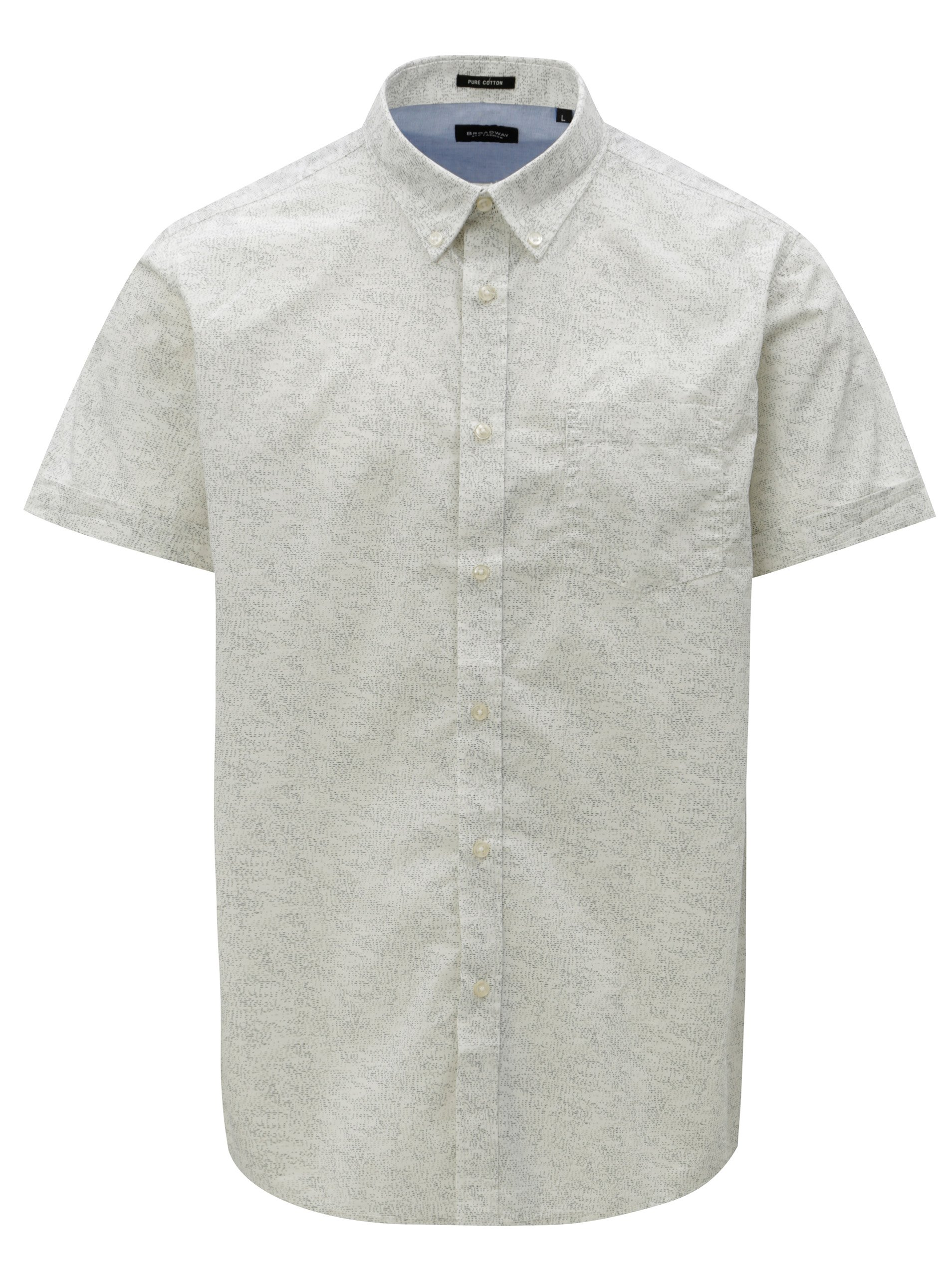 Fotografie Krémová pánská vzorovaná košile s krátkým rukávem Broadway Ewen