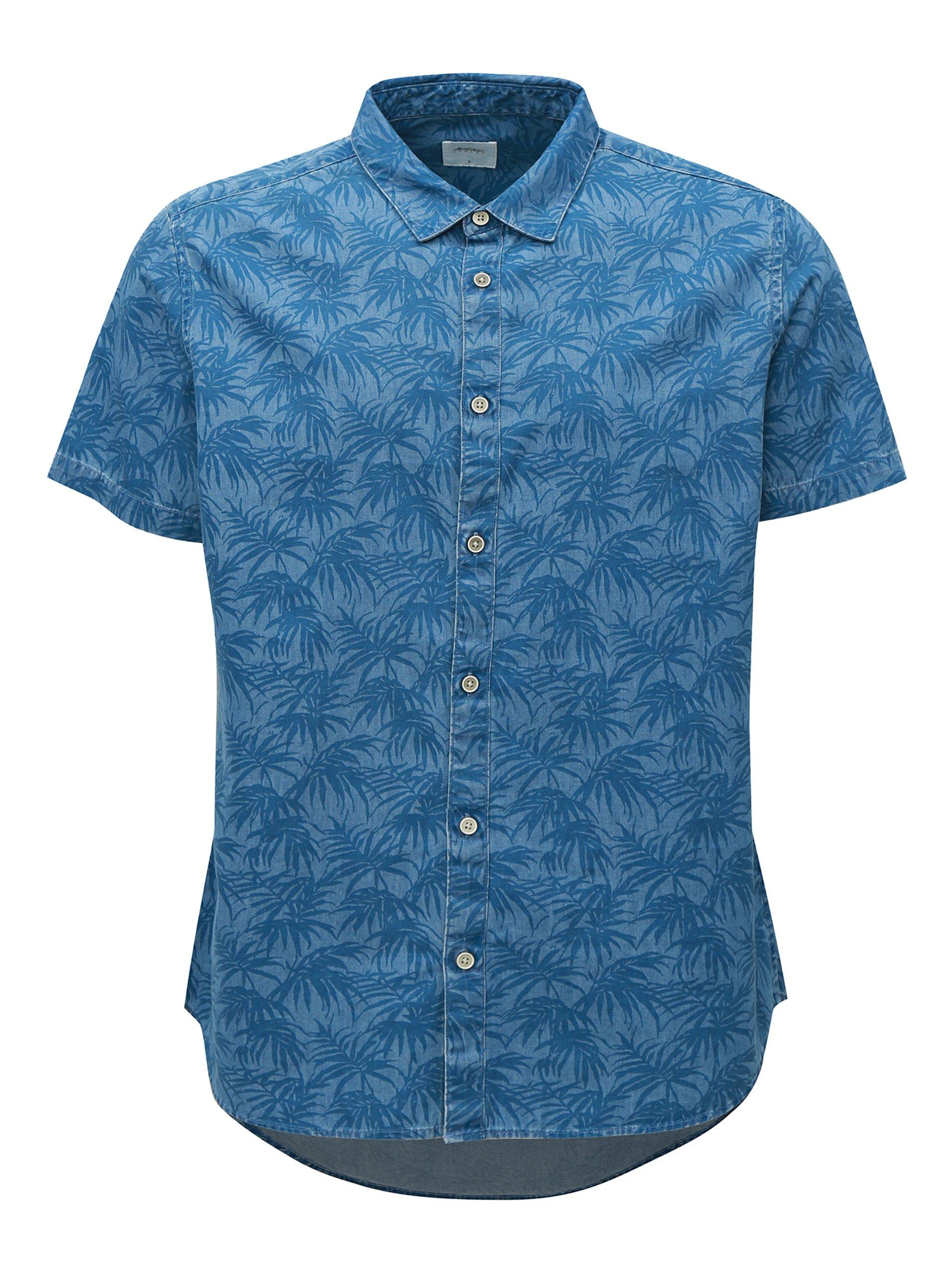 595495191c8 Modrá vzorovaná košile Burton Menswear London