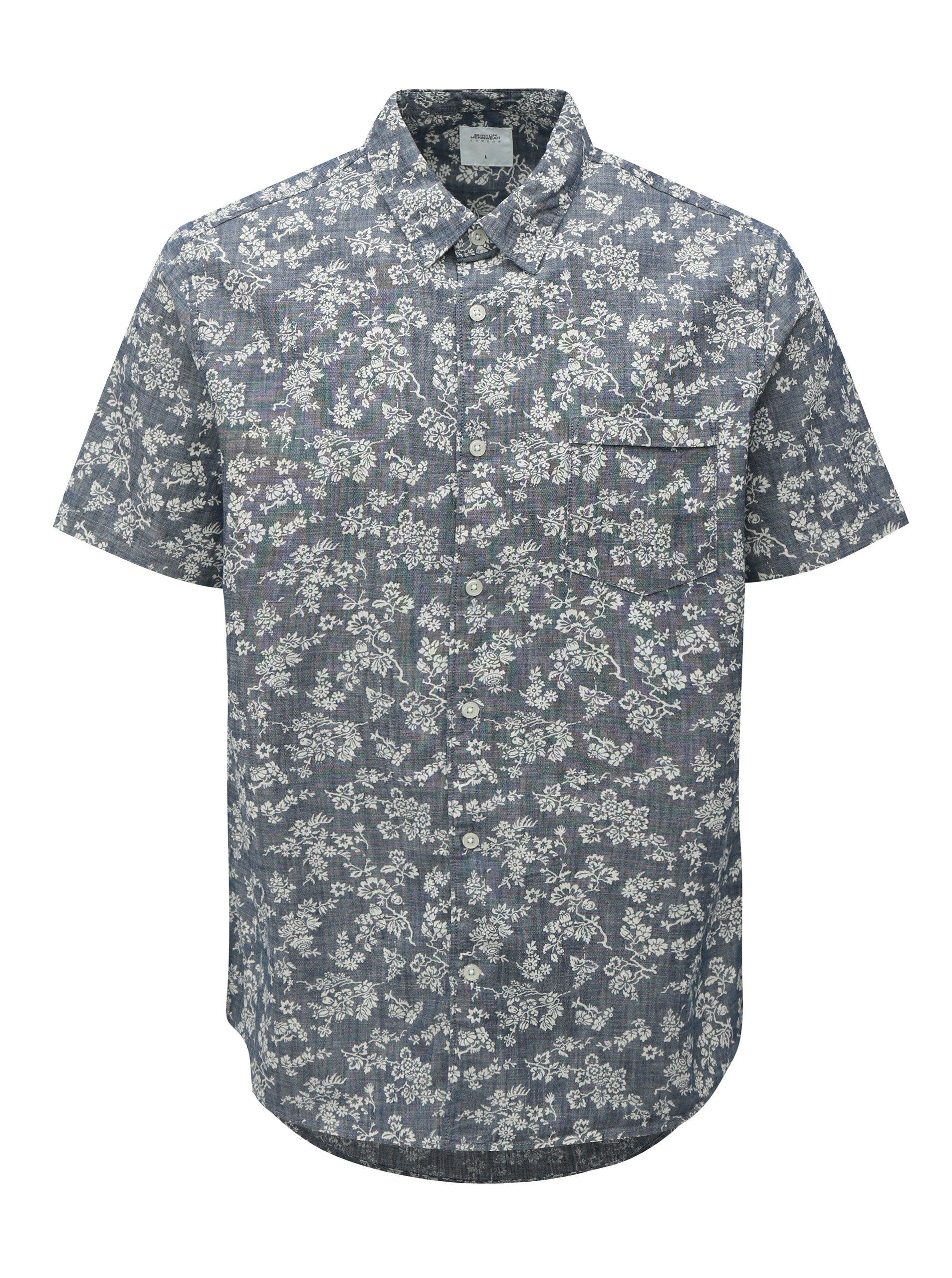 Bílo-modrá květovaná košile Burton Menswear London 0c9123a06f