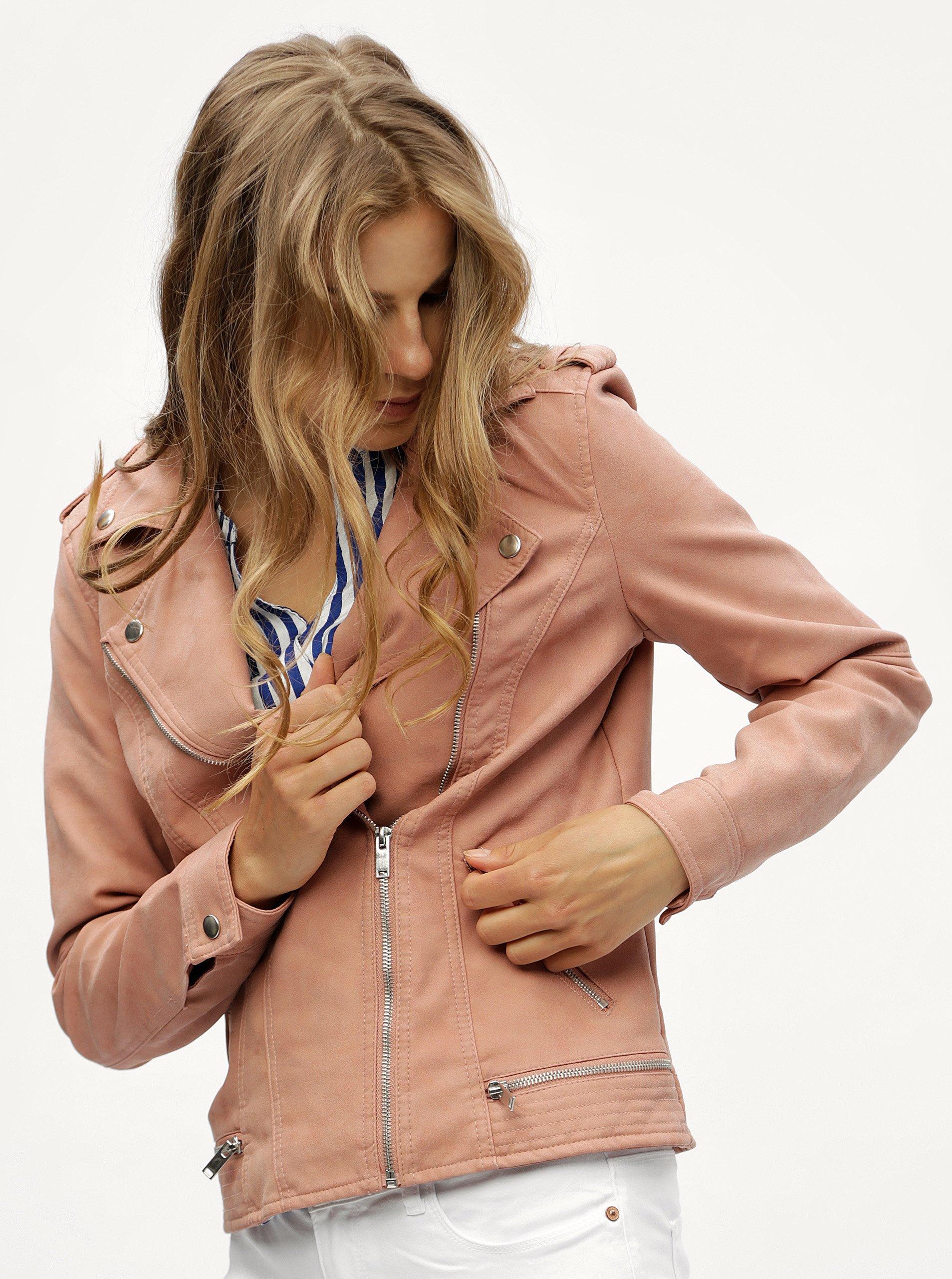 Růžový koženkový křivák VERO MODA World