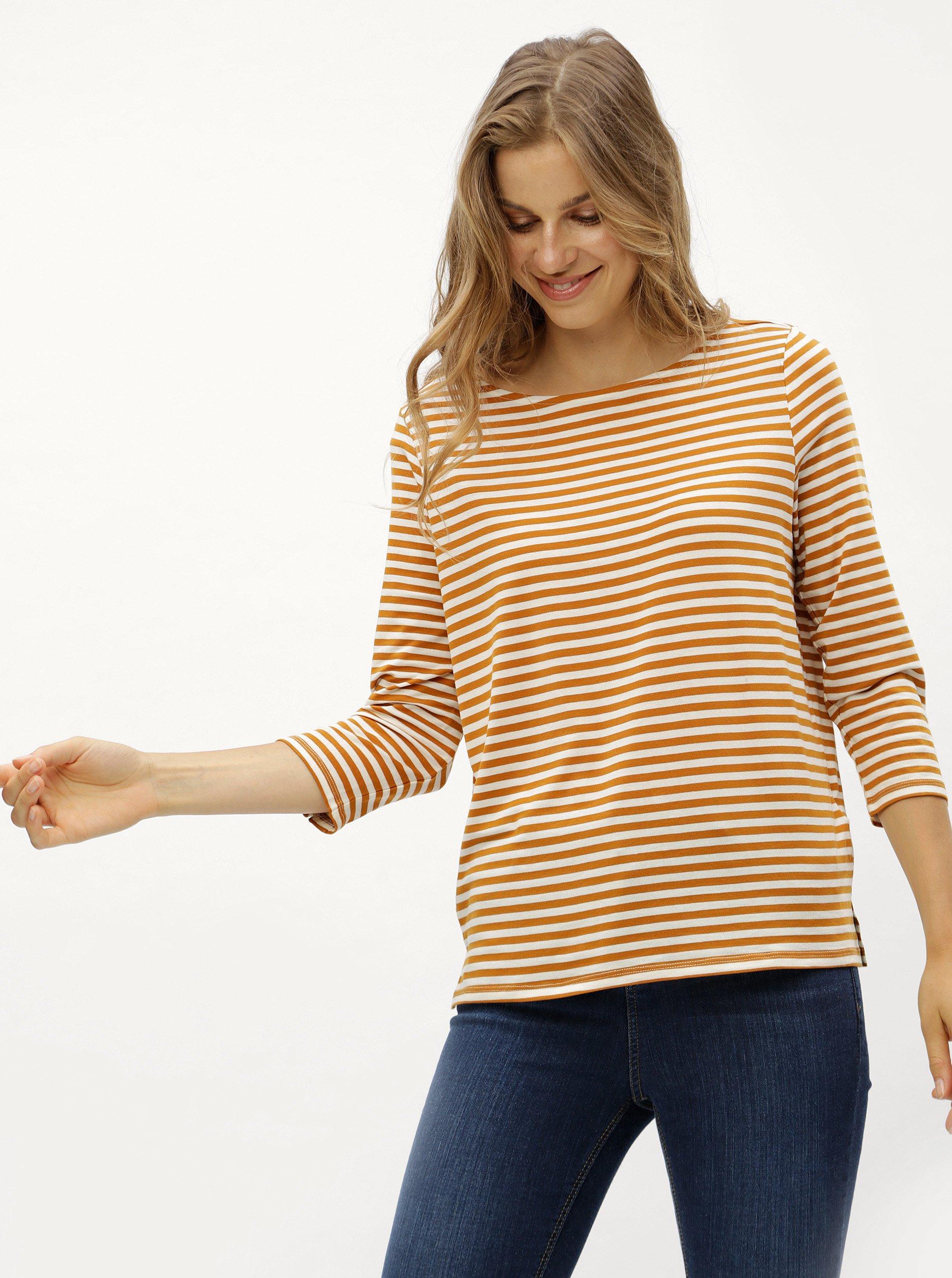 Hořčicové pruhované tričko s 3/4 rukávem VERO MODA Jany