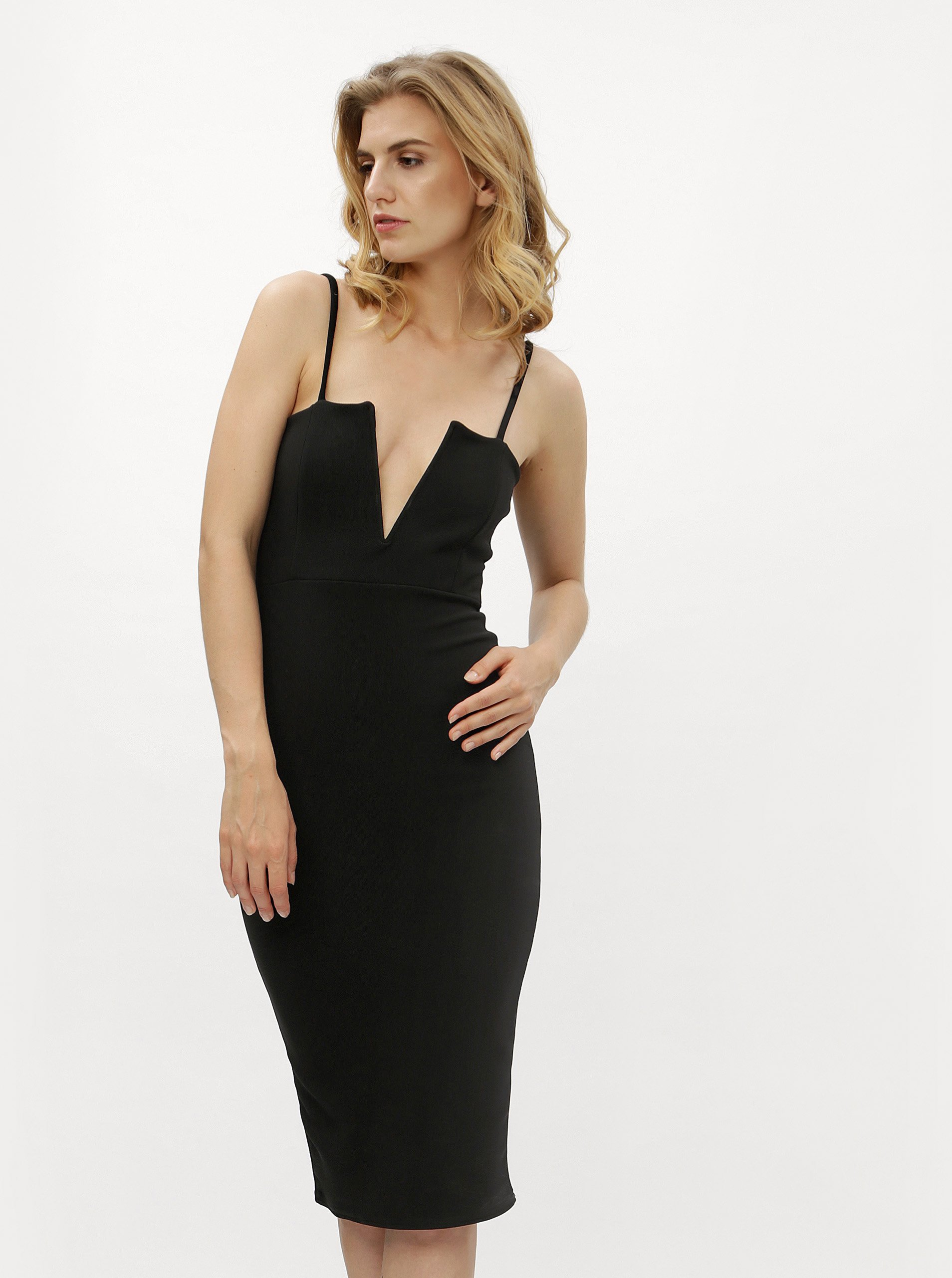 Čierne šaty s véčkovým výstrihom MISSGUIDED 227bef8e4da