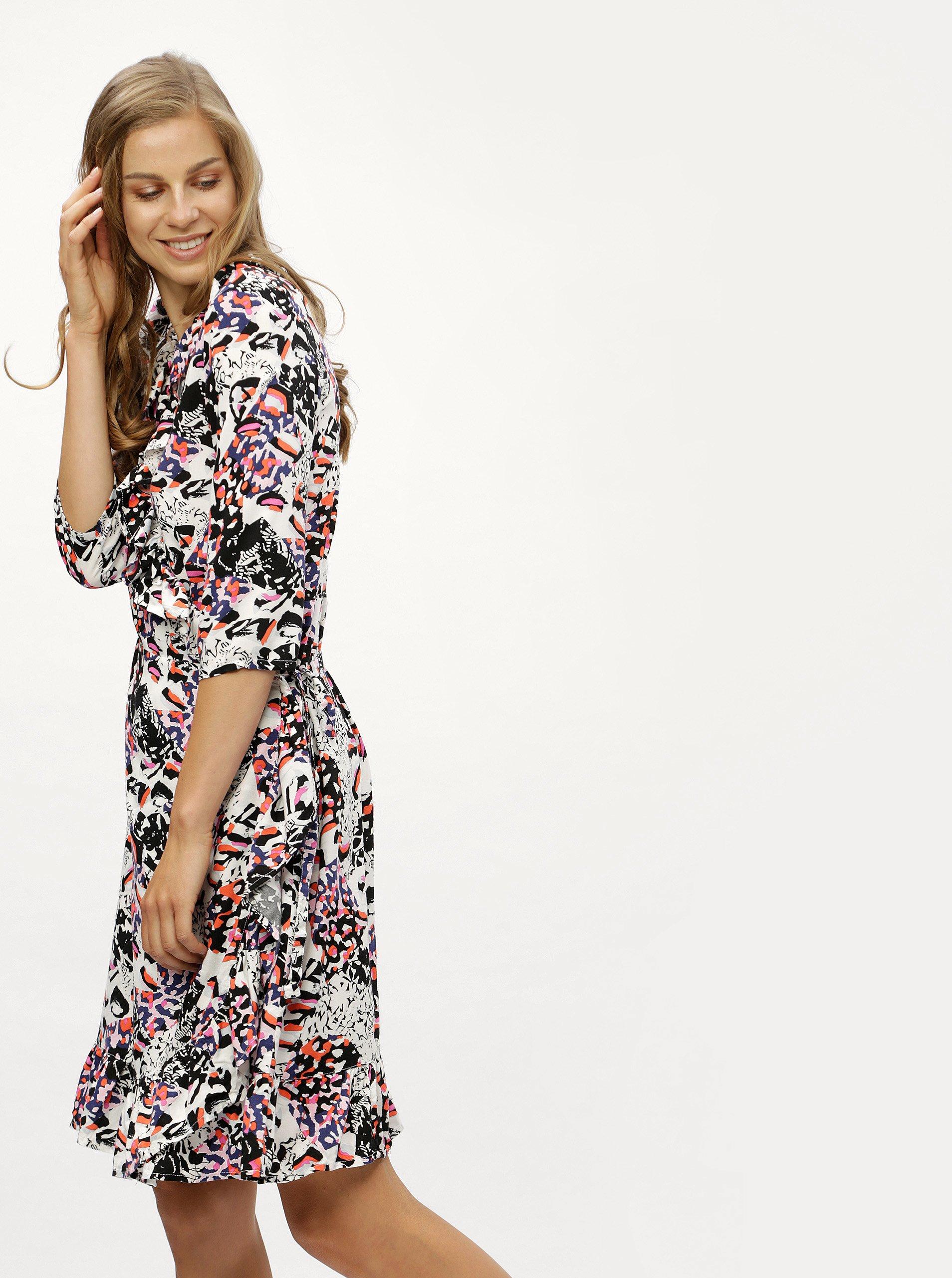 Černo-bílé vzorované zavinovací šaty s volány Noisy May b473c68cf6