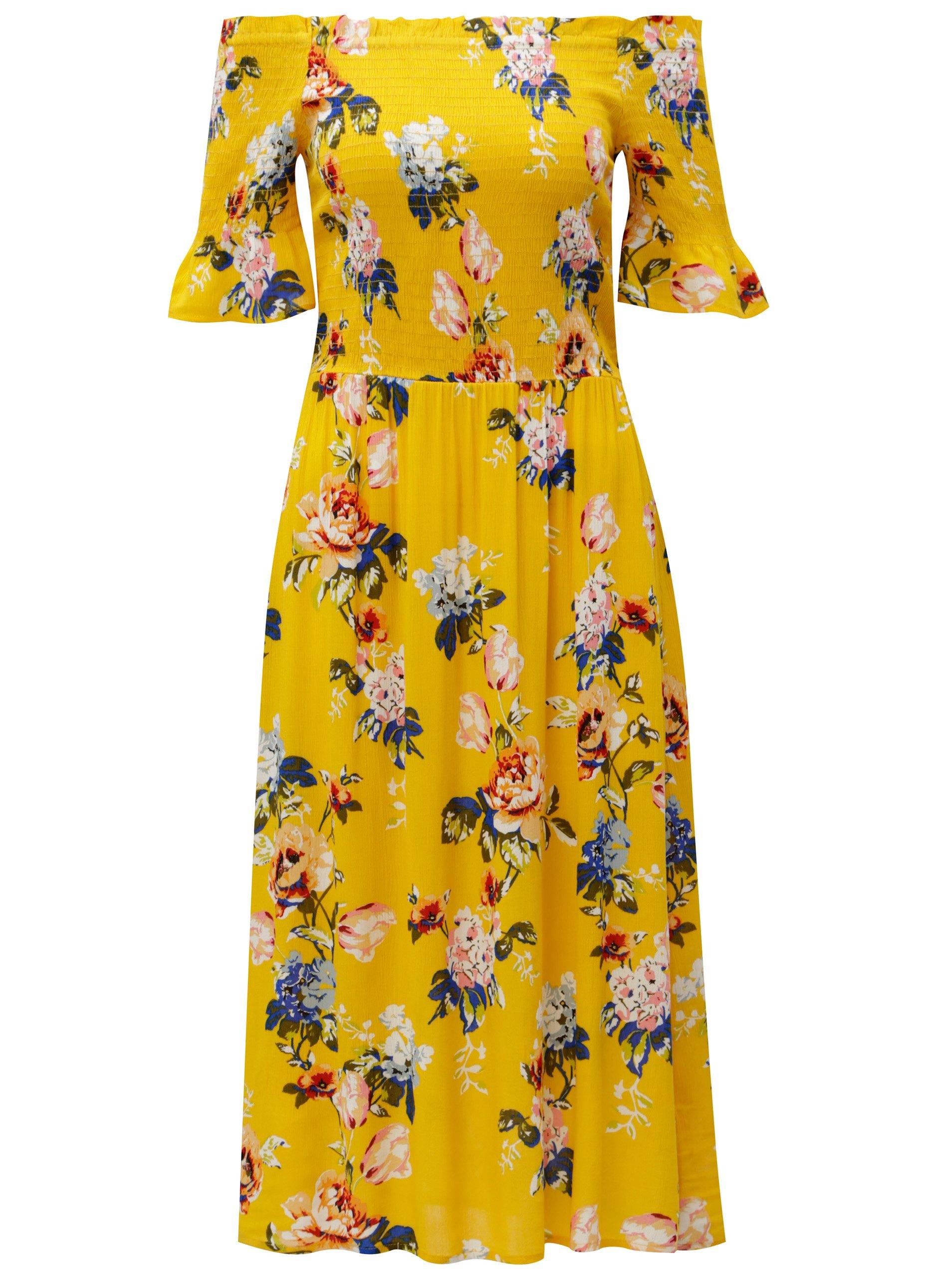 Žluté květované šaty s odhalenými rameny Dorothy Perkins