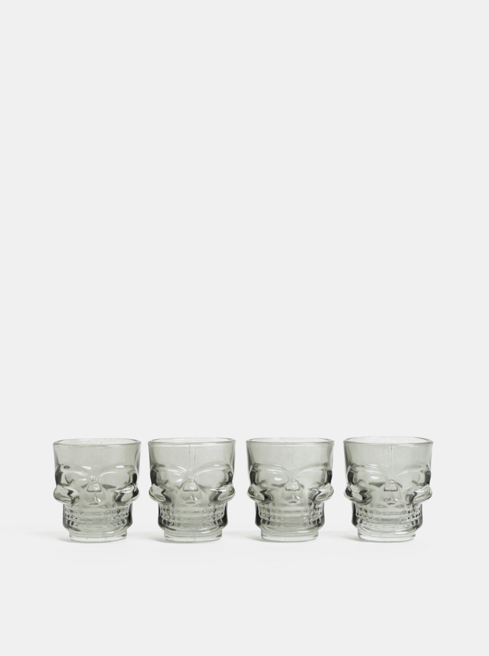 Sada čtyř skleněných panáků ve tvaru lebky v šedé barvě Temerity Jones