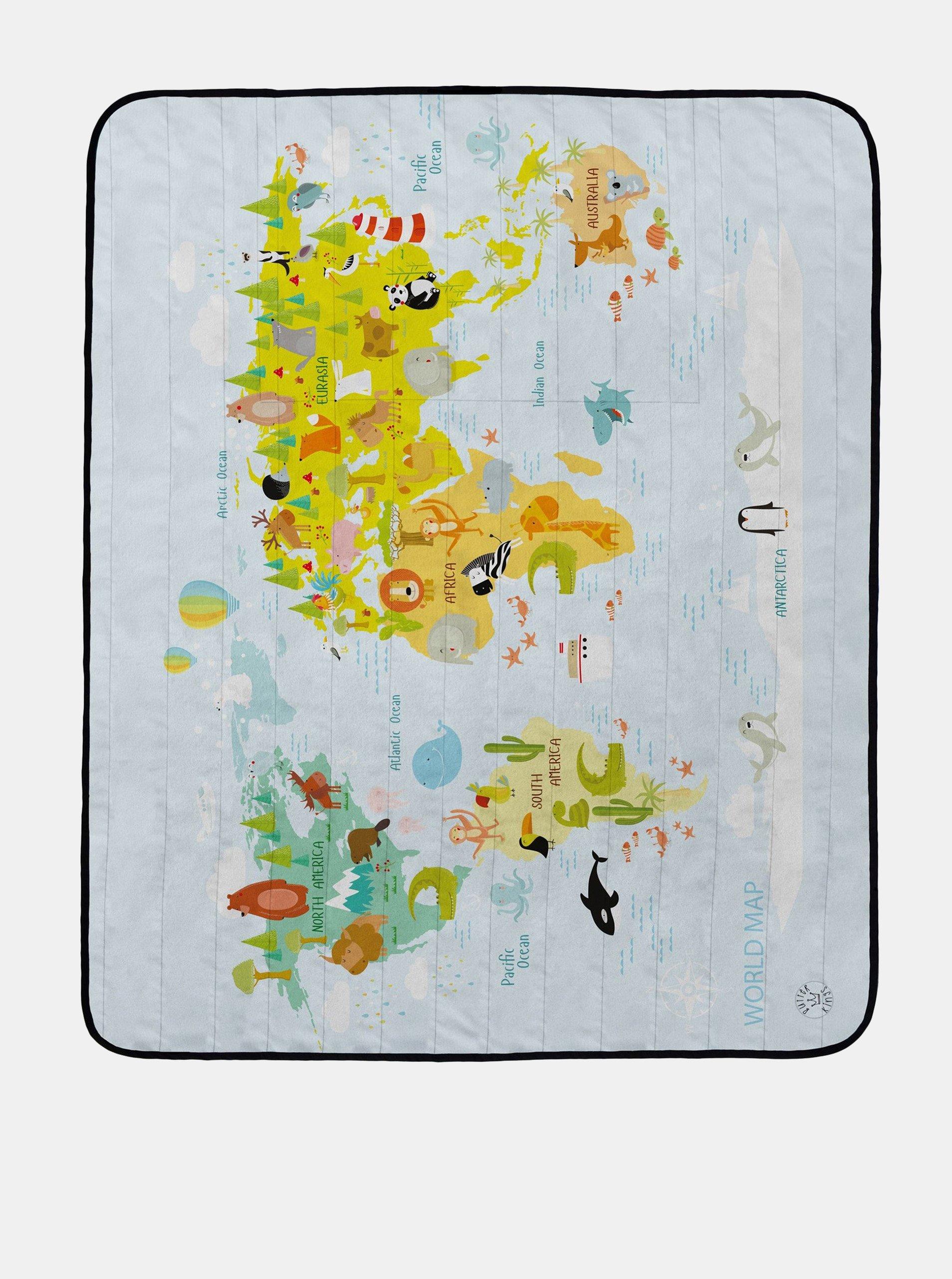 Svetlomodrá deka na piknik s potlačou mapy a zvierat Butter Kings