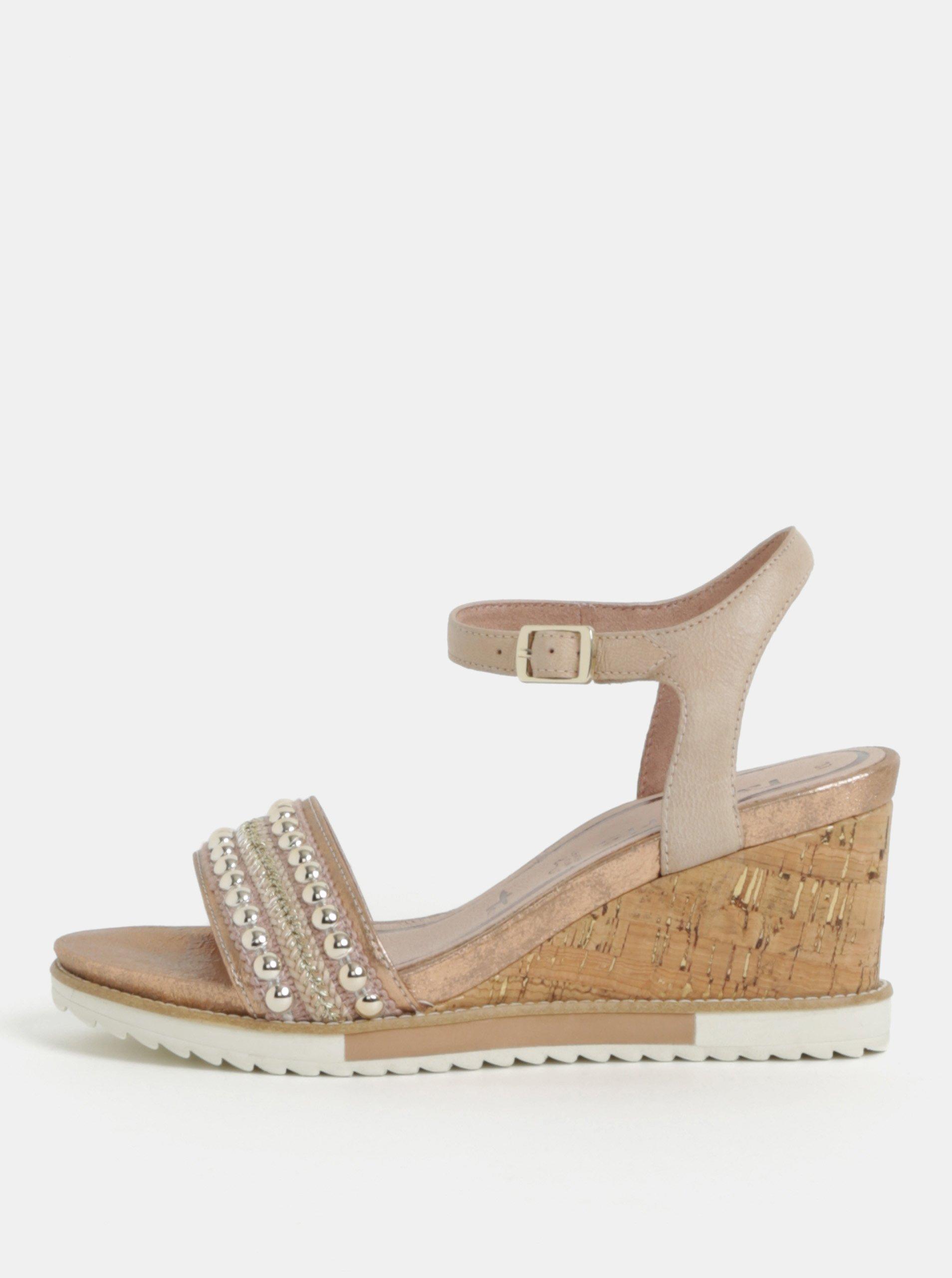 Starorůžové kožené sandálky s detaily ve stříbrné barvě Tamaris 6c5cbe929ef