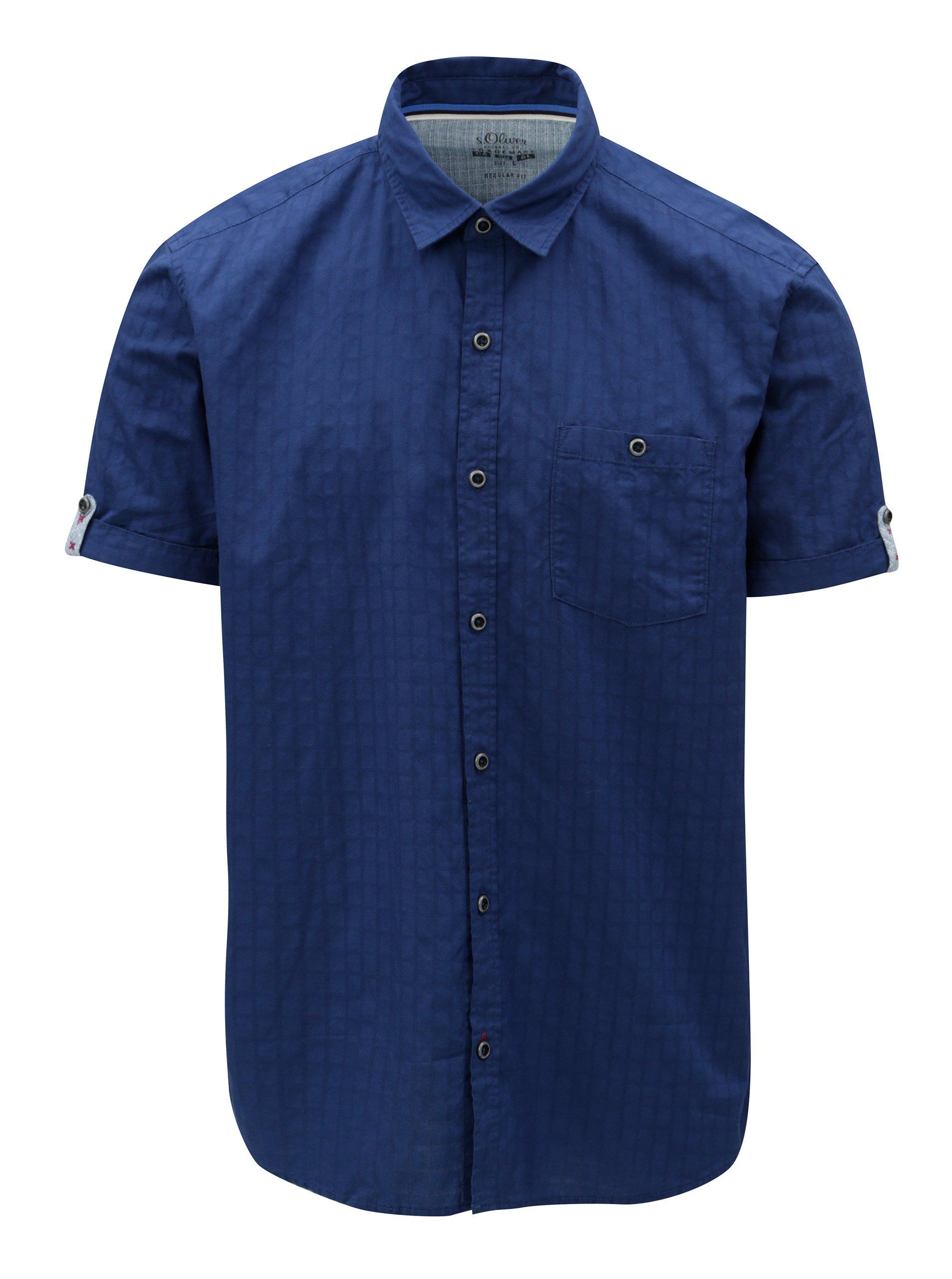 a48449c3cd90 Modrá pánska regular fit košeľa s krátkym rukávom s.Oliver