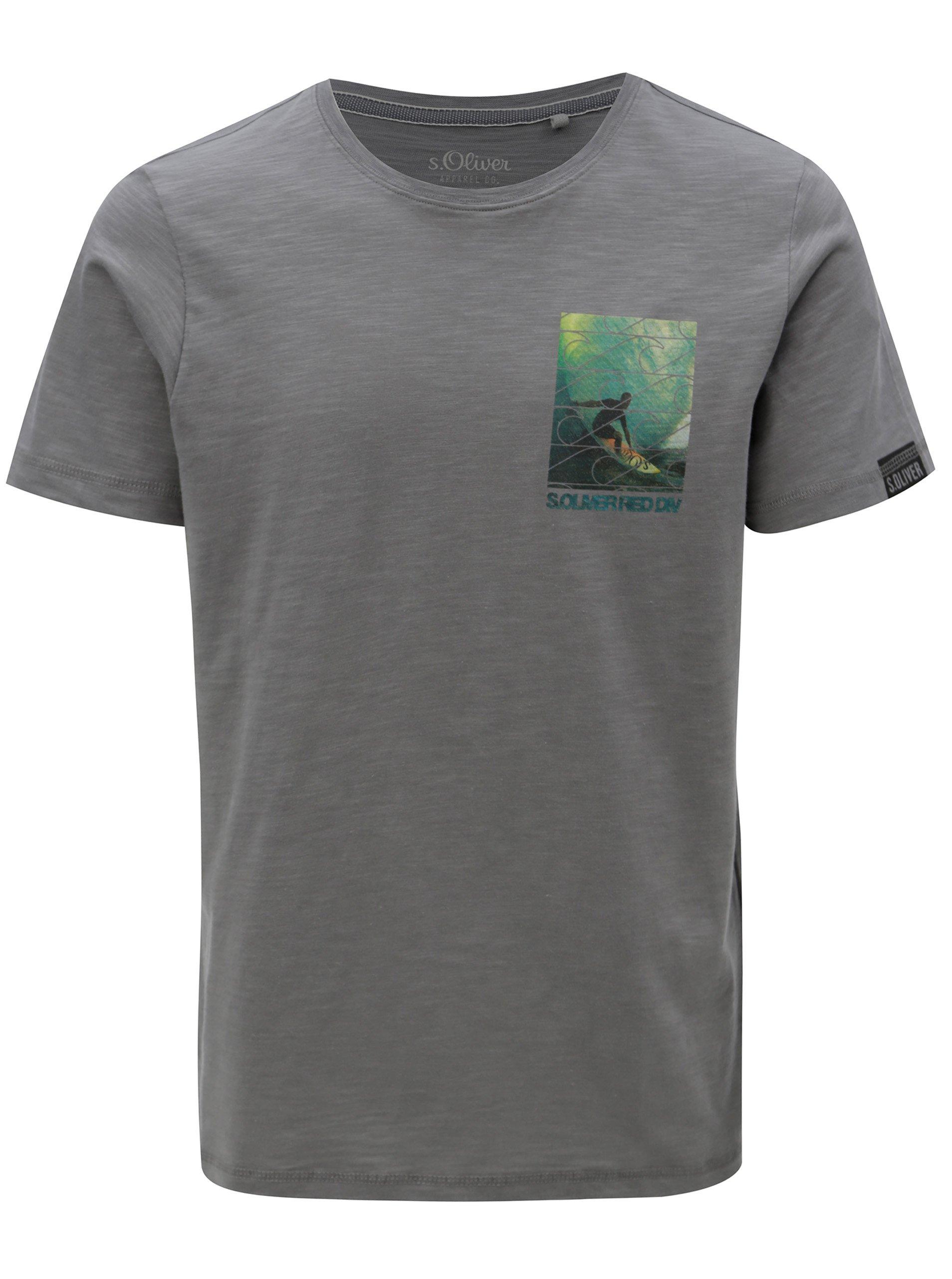 Šedé pánské regular fit tričko s potiskem s.Oliver
