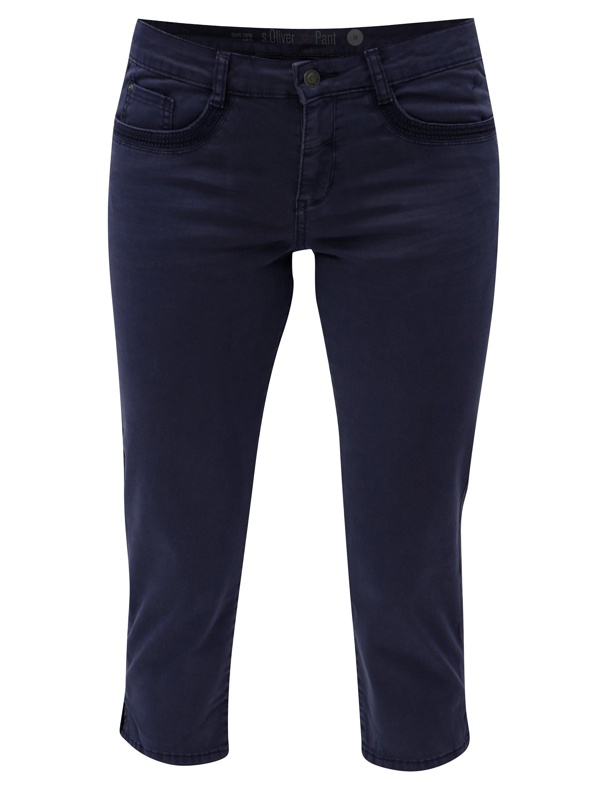 ceb175217958 Modré skrátené dámske slim fit nohavice s.Oliver