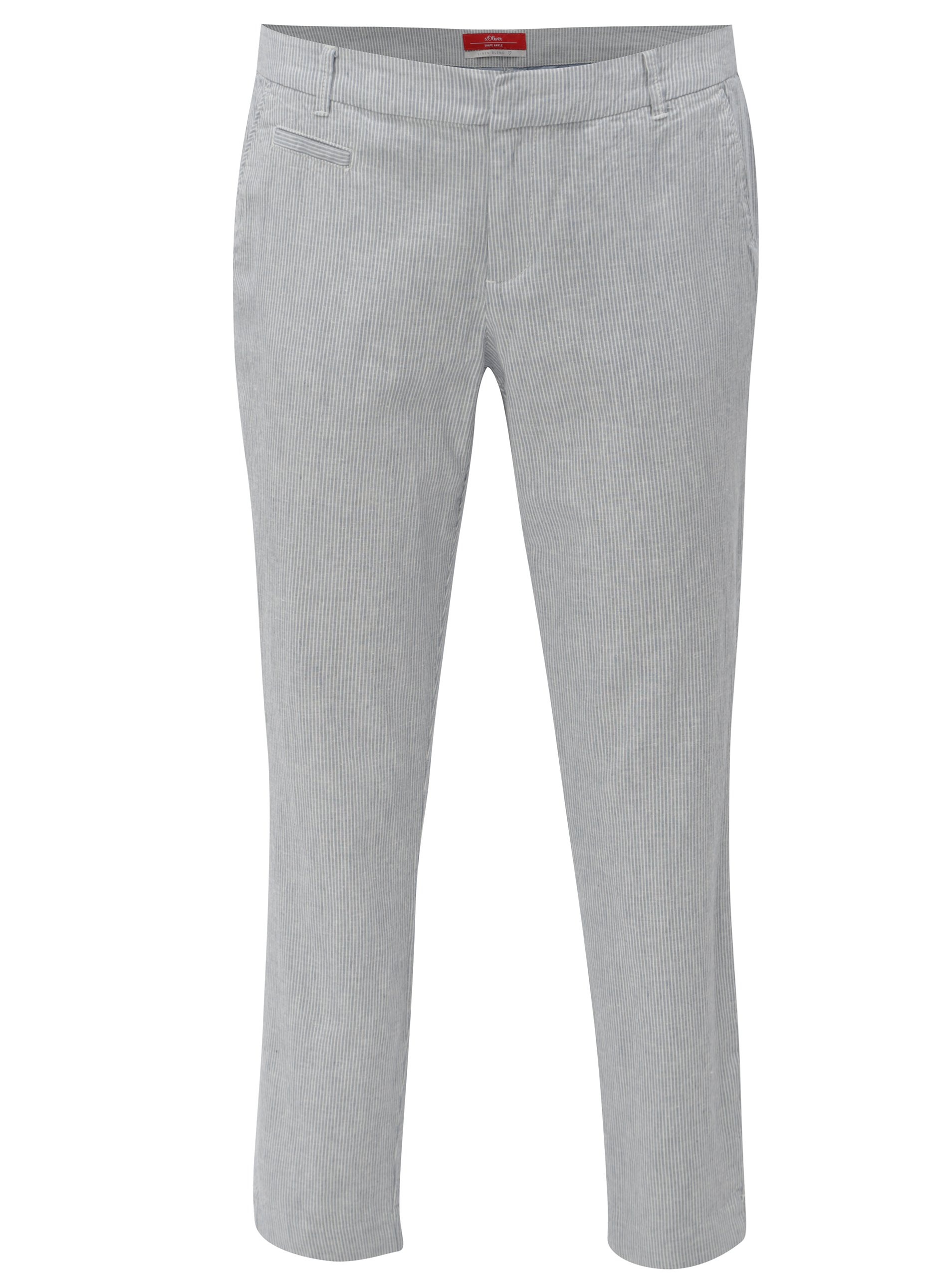 d5f0f55e4792 Modré dámske ľanové slim fit chino nohavice s.Oliver