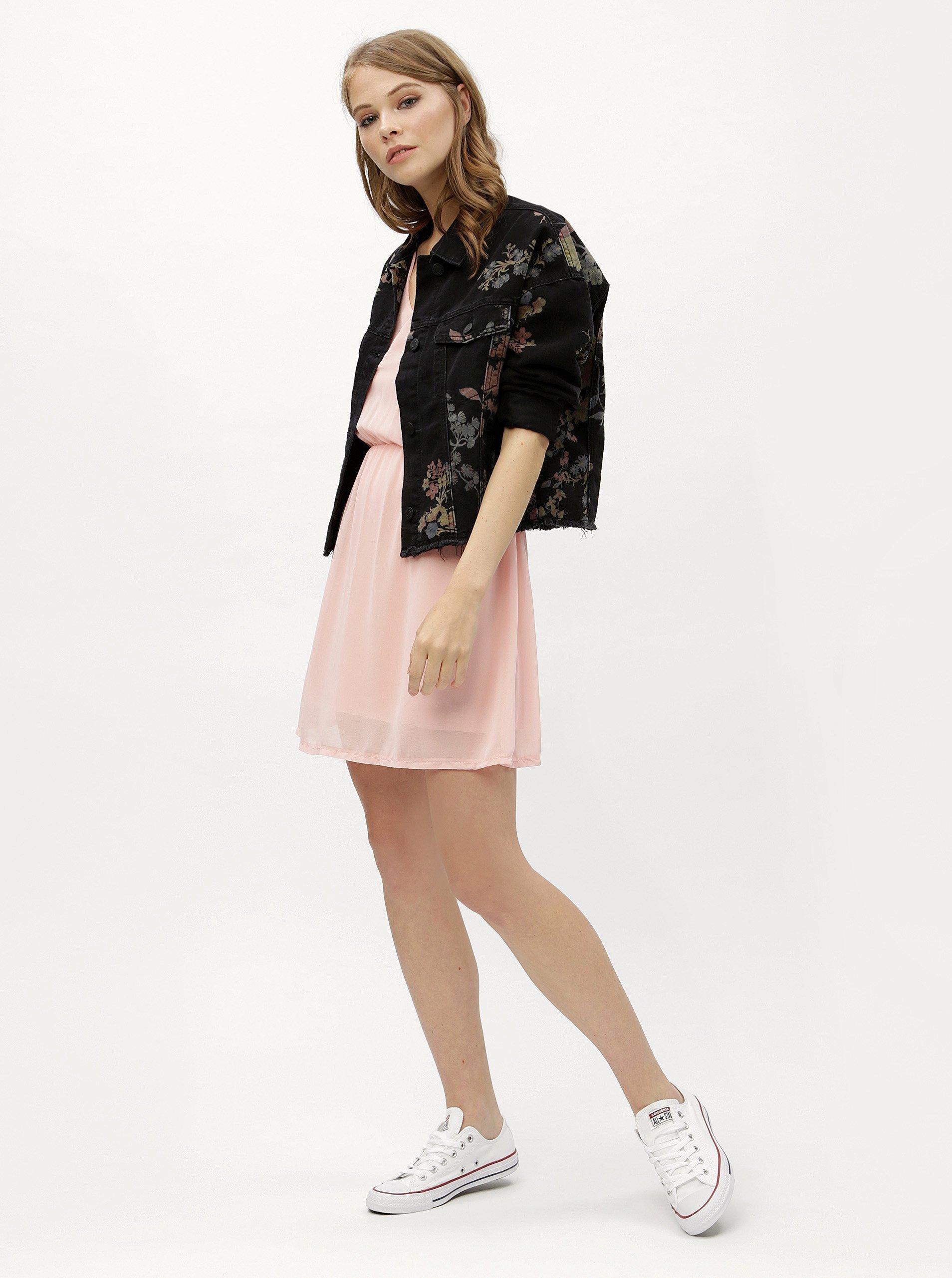 Růžové šaty s gumou v pase Haily´s Anika