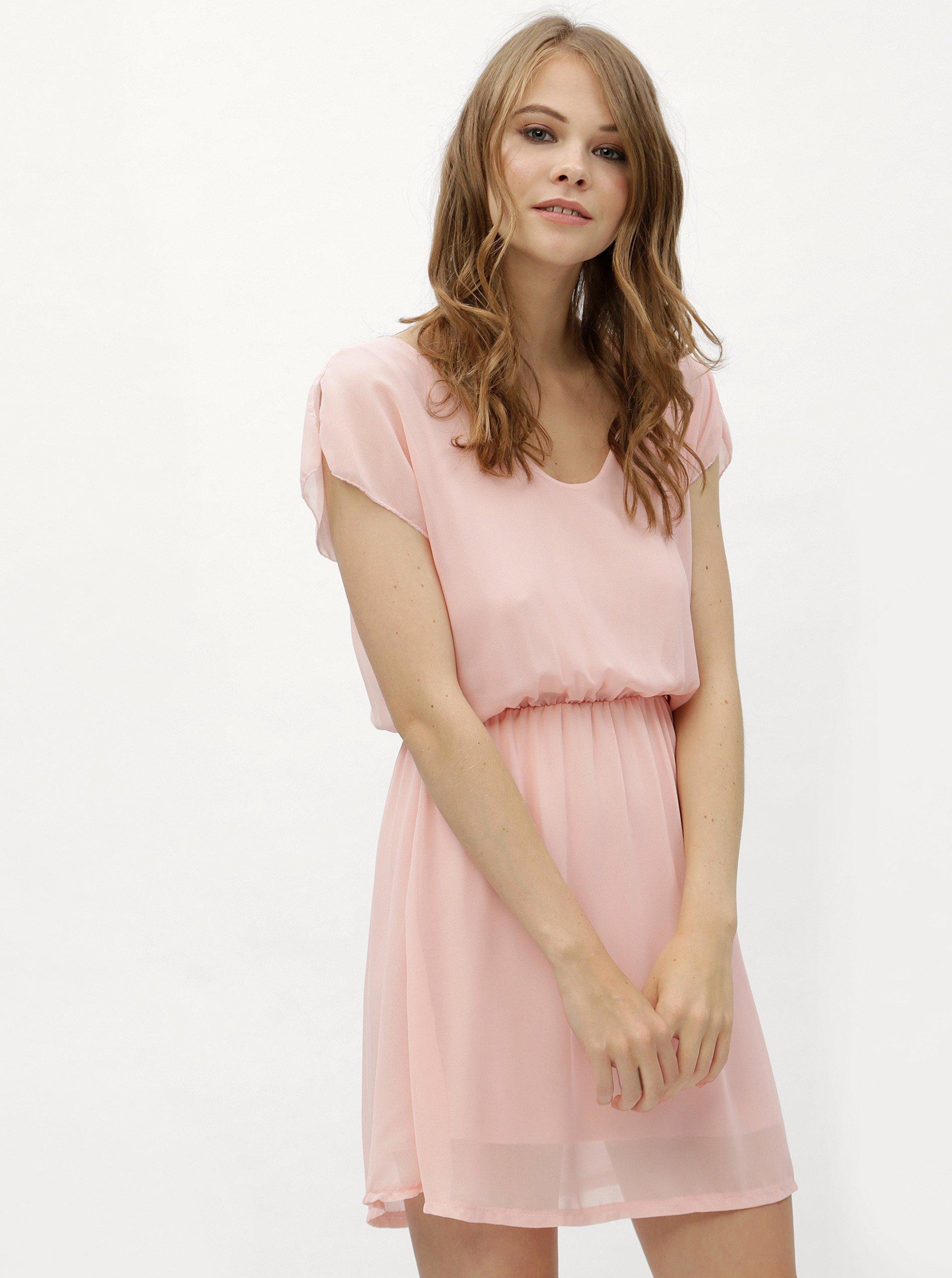 0a529cc3d39a Ružové šaty s gumou v páse Haily´s Anika
