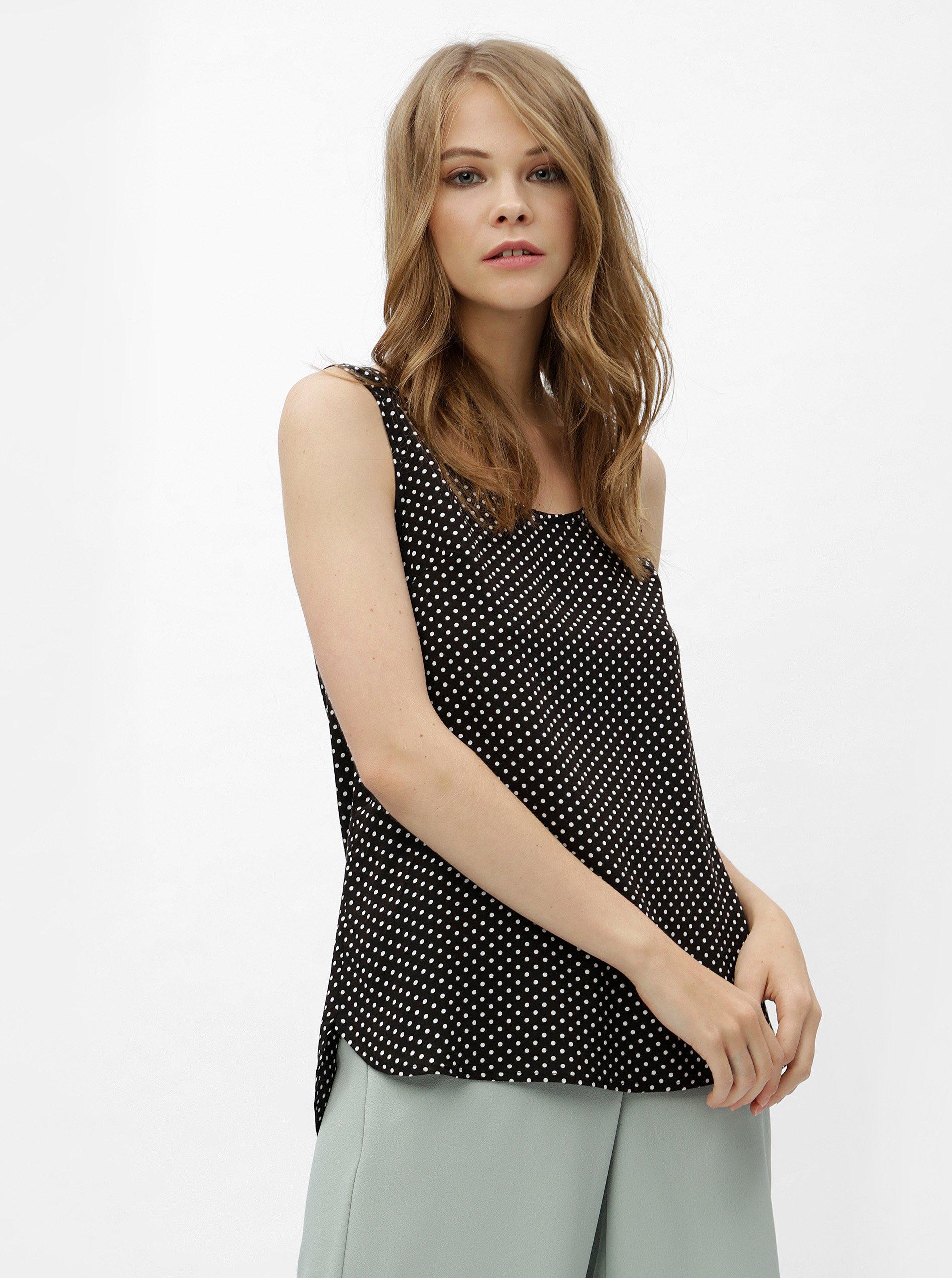 01304f0d31ad Bílo-černý puntíkovaný top se zipem na zádech Haily´s Cami Roxanne