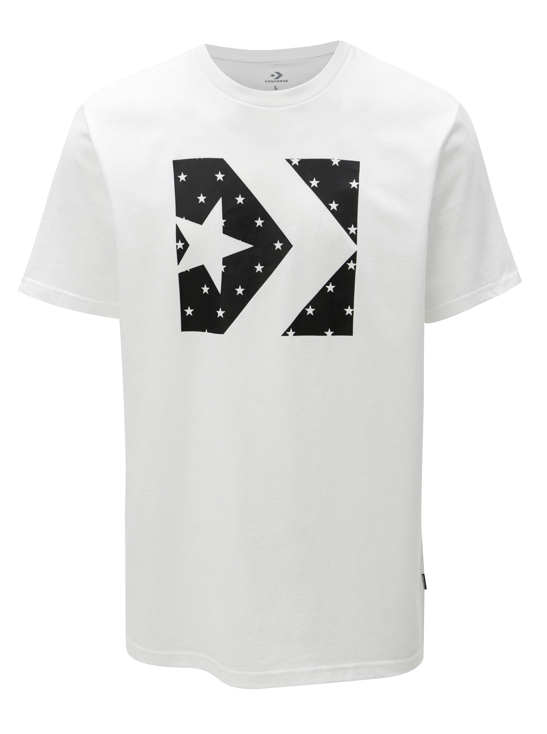 Černo-bílé pánské tričko s potiskem Converse Star Fill Chevron d4cffe6d304