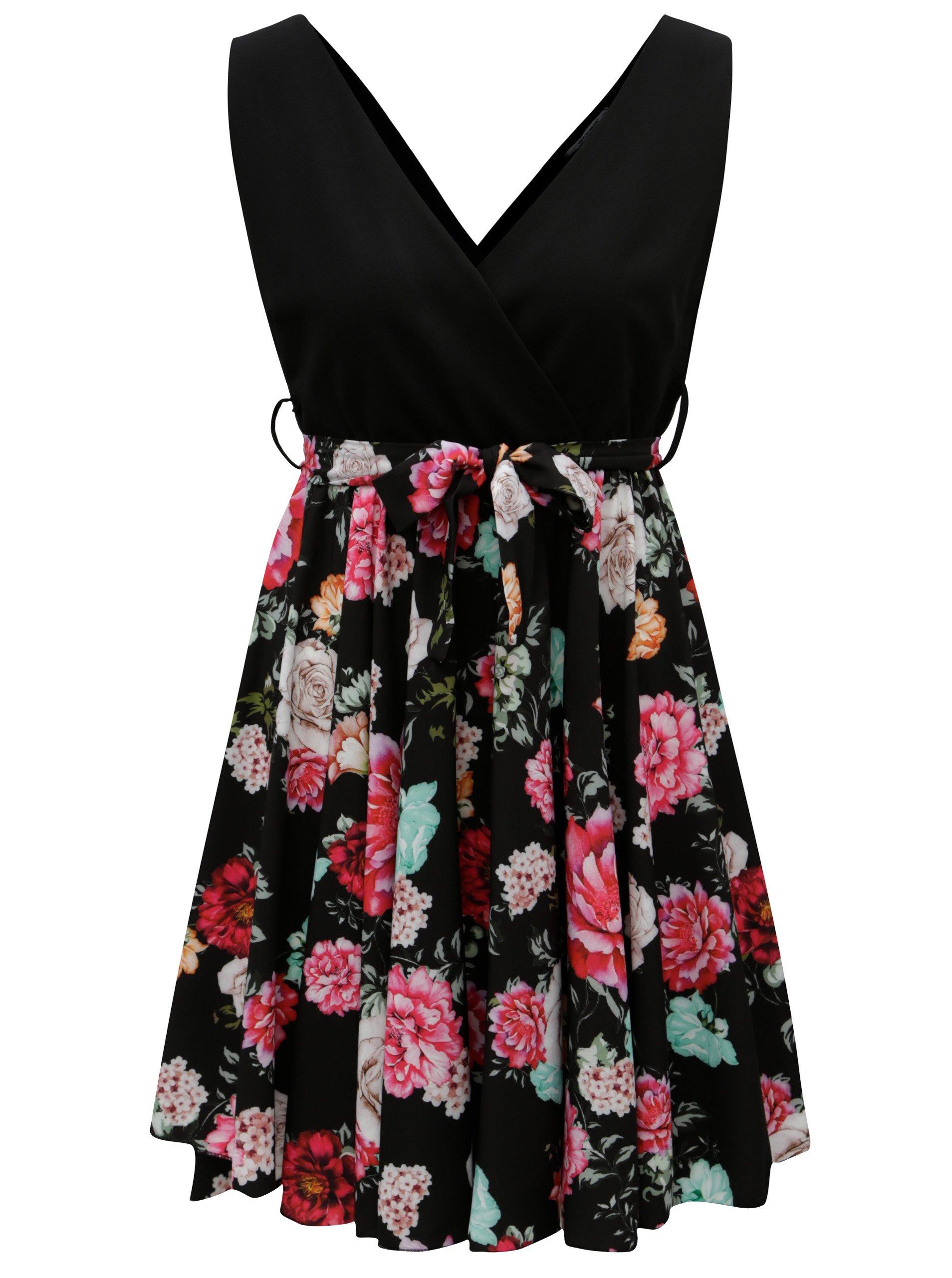 ceb369387518 Čierne šaty s kvetovanou áčkovou sukňou Haily´s Janna