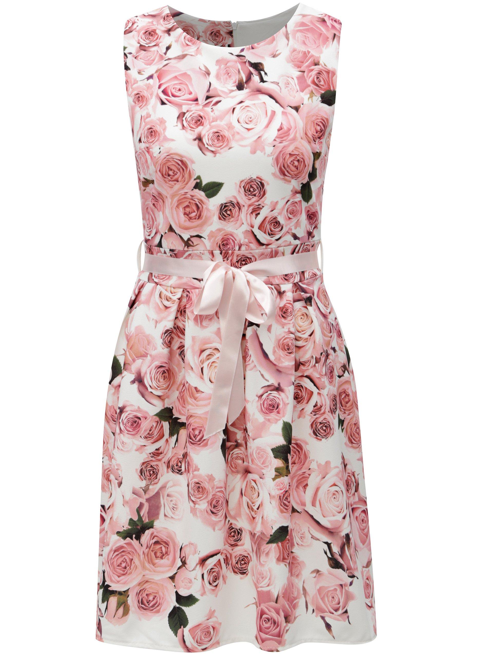 Bílo-růžové květované šaty se stuhou Haily´s Rosy