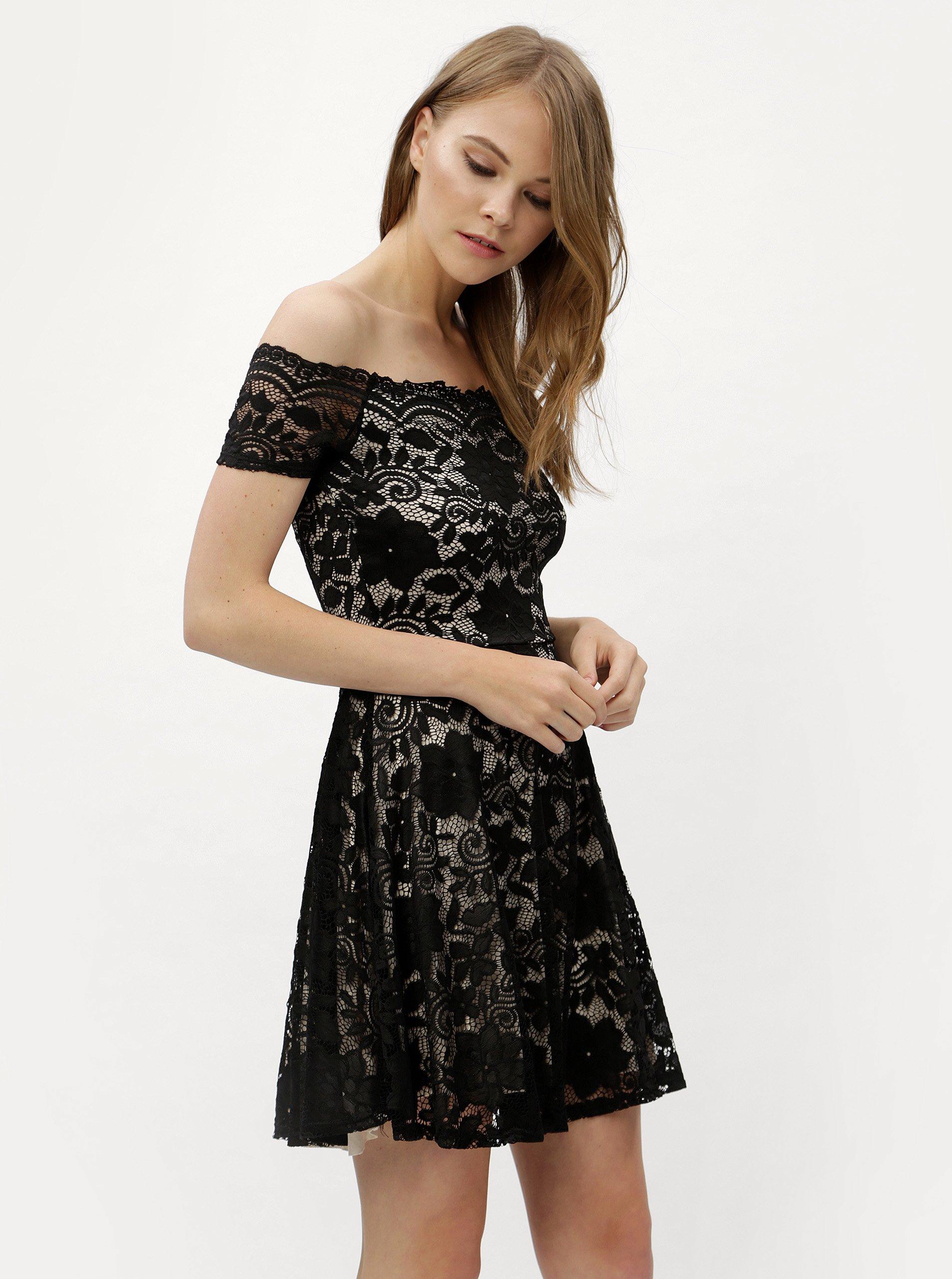 c07cd3f66fa7 Čierne čipkované šaty s odhalenými ramenami Haily´s Ronja
